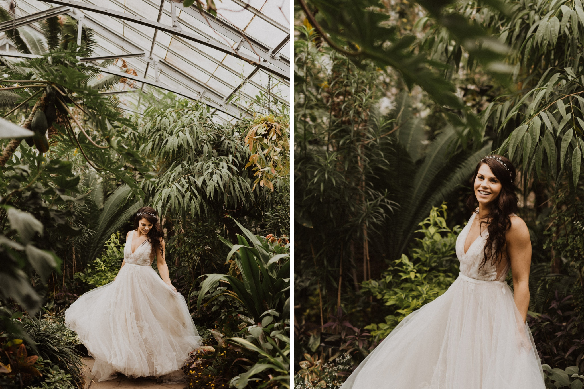 Greenhouse Elopement Allan Gardens Toronto - bride surrounded by plants