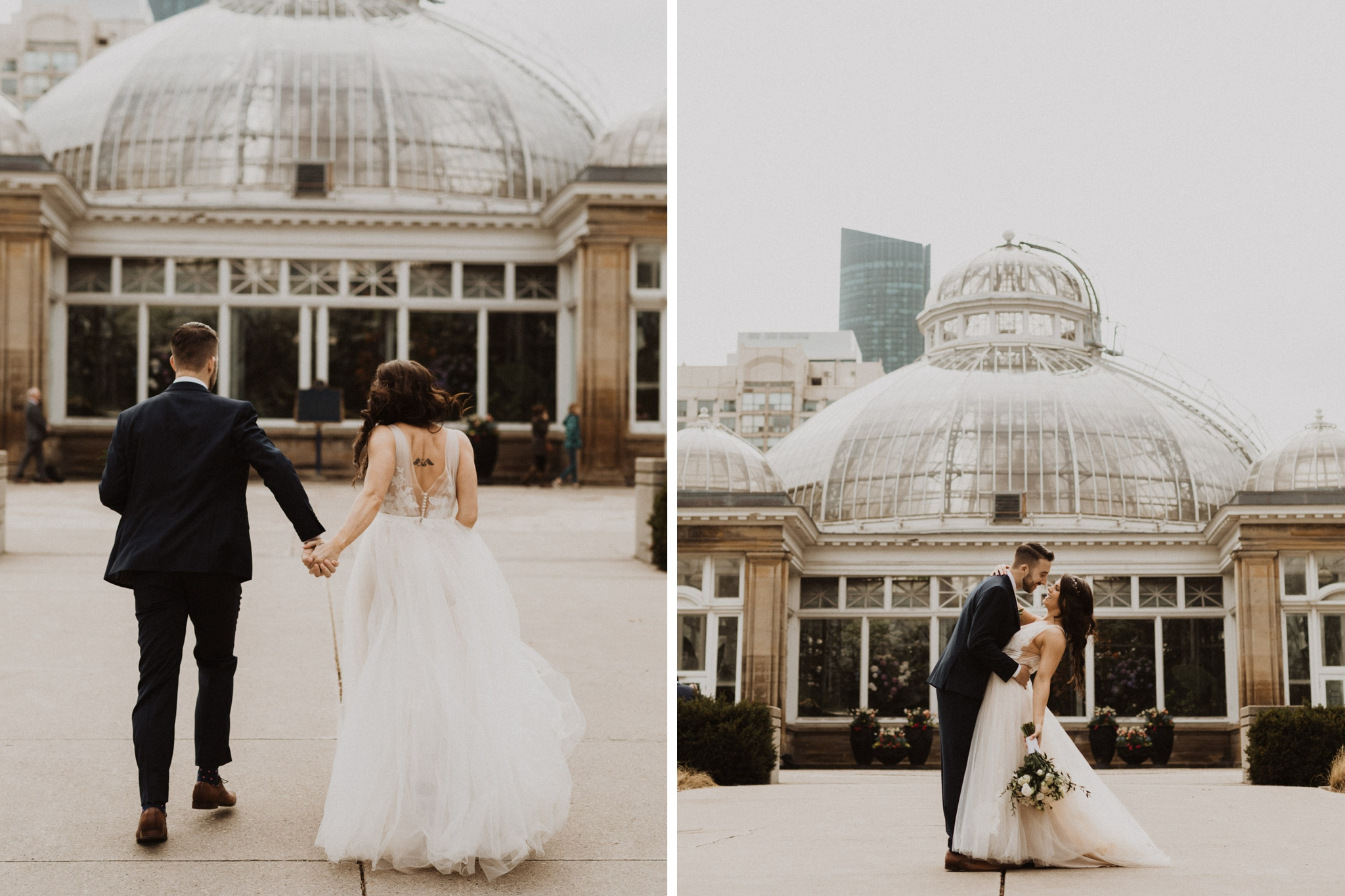 Greenhouse Elopement Allan Gardens Toronto - bride and groom in front of green house