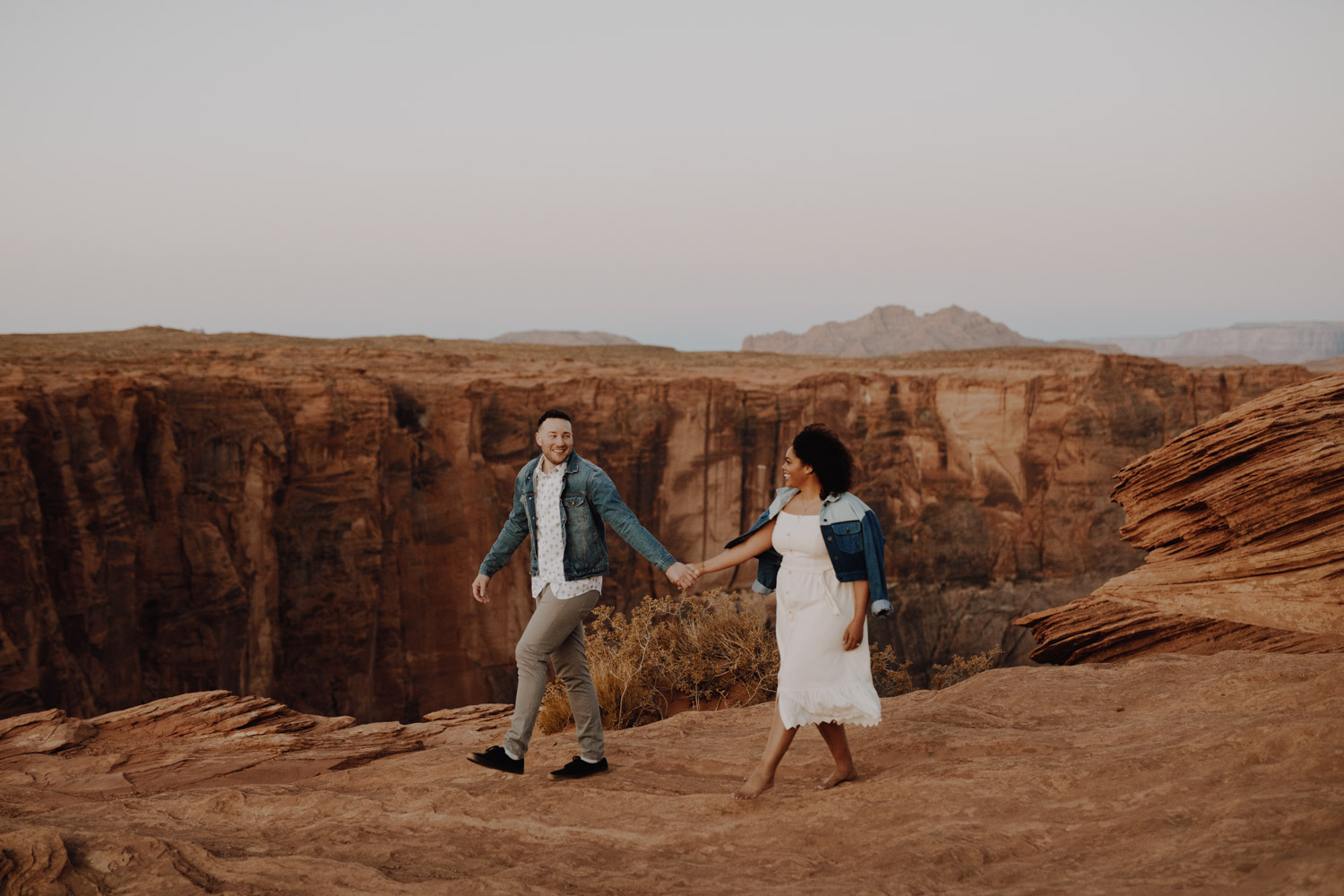 Horseshoe Bend Engagement - romantic stroll for a couple at the canyon