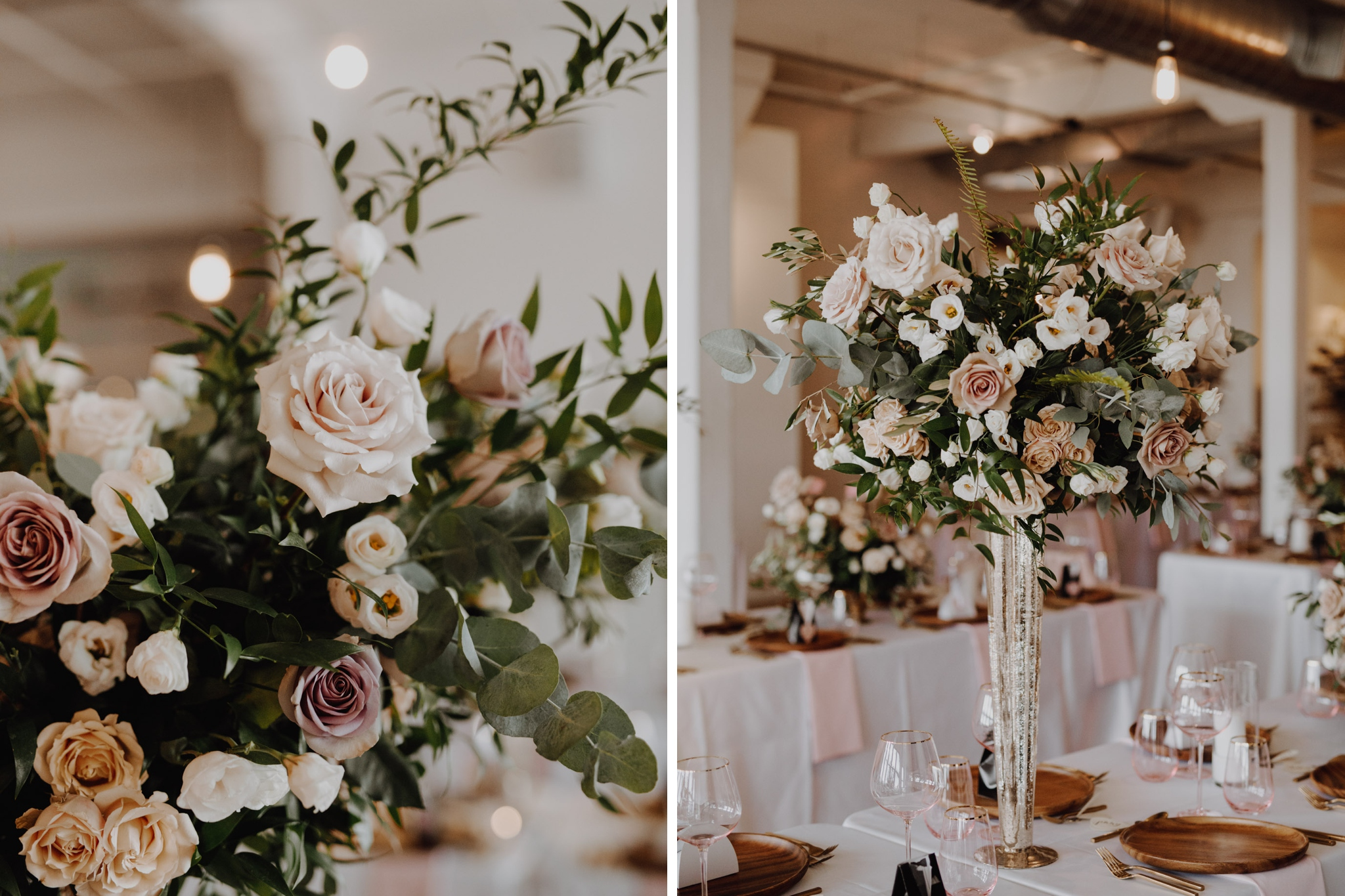Pink roses floral design. The Burroughes Wedding. Love By Lynzie. Wedding Photographer Jennifer See Studios.