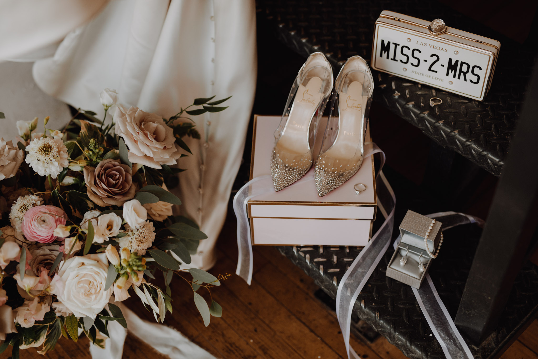 Chic pink bridal details. Love By Lynzie. Wedding Photographer Jennifer See Studios.
