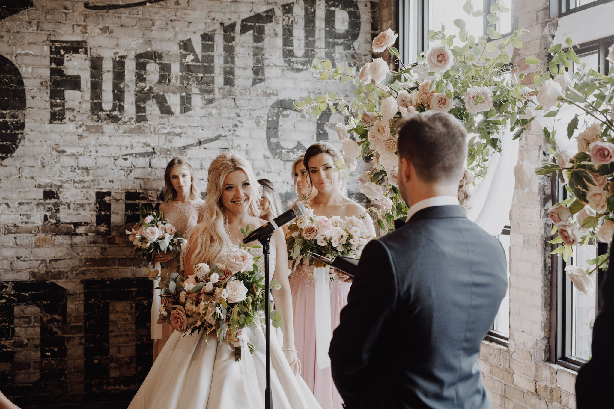 Pink roses decor at The Burroughes Wedding. Love By Lynzie. Wedding Photographer Jennifer See Studios.