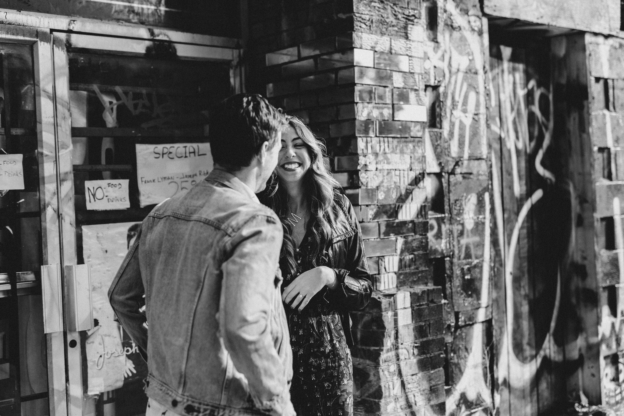 Graffiti alley. Kensington Engagement. Jennifer See Studios.