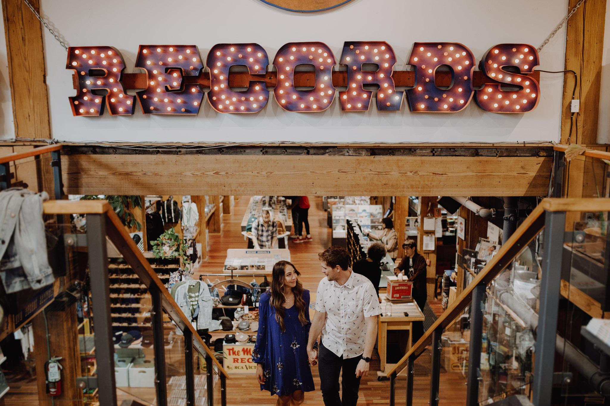 Record shop engagement. Kensington Engagement. Jennifer See Studios.