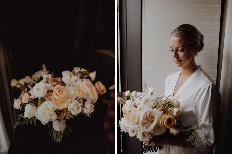 Elora Mill Wedding - bride with peach florals