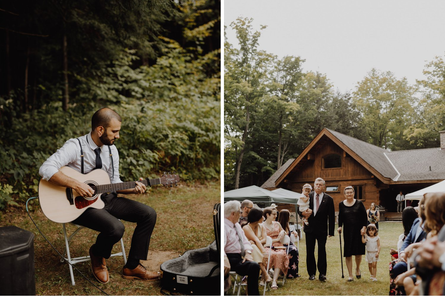Outdoor Camp Wedding - acoustic music at ceremony