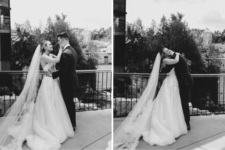Elora Mill Wedding - First look reaction