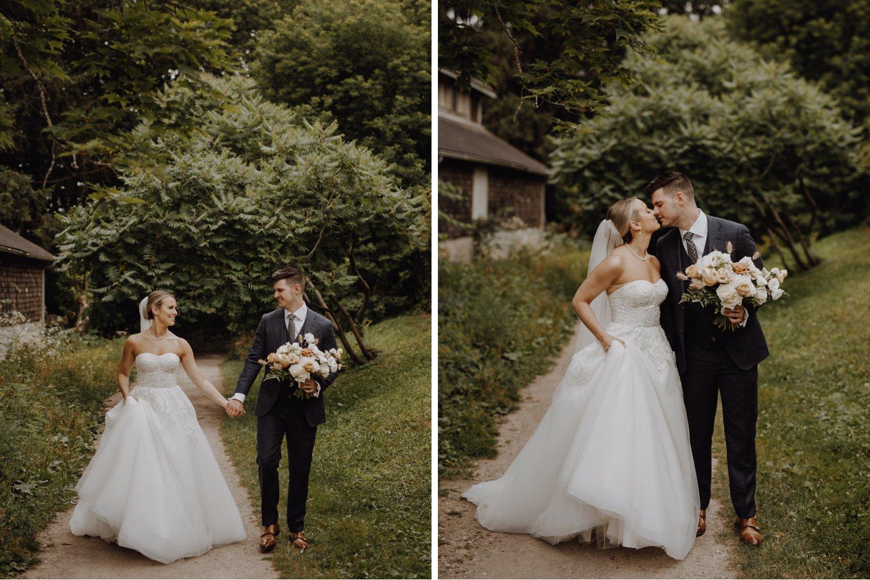 Elora Mill Wedding - bride a groom on a grassy trail