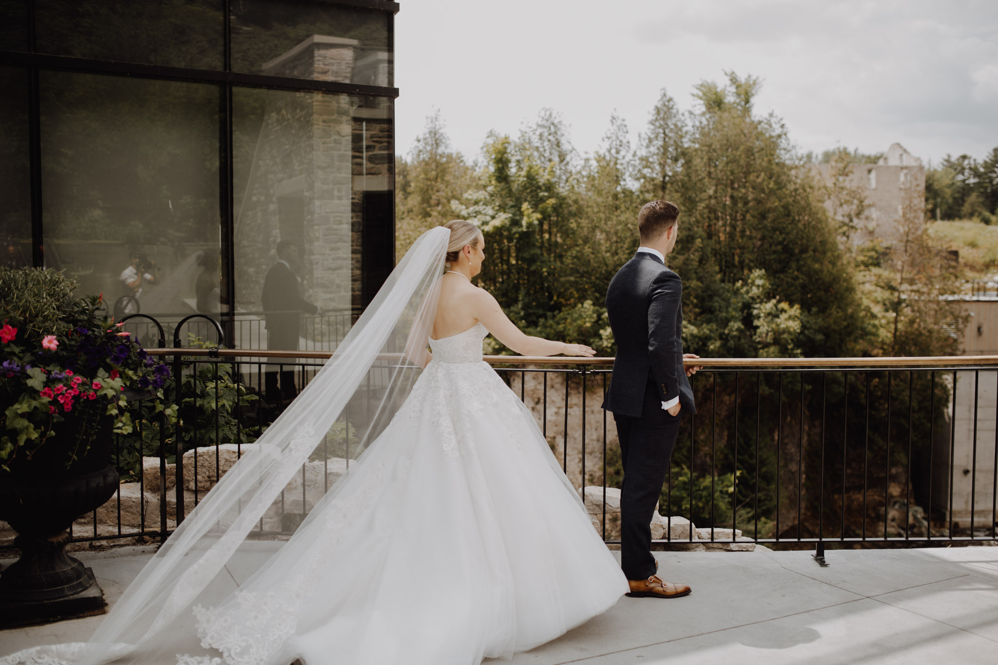 Elora Mill Wedding - first look on the balcony