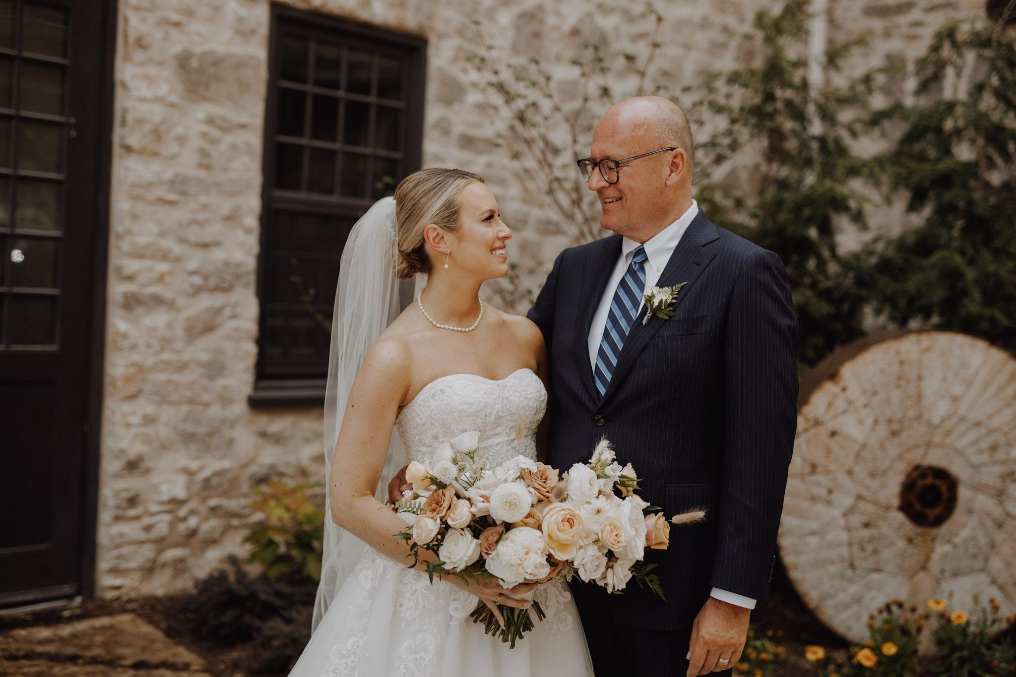 Elora Mill Wedding - father daughter portrait