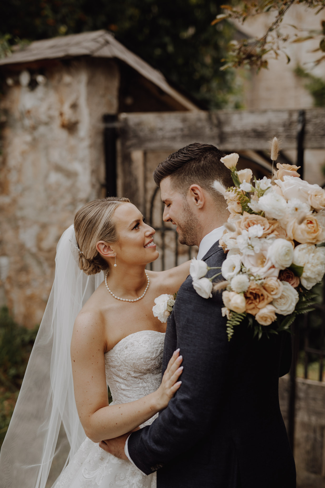Elora Mill Wedding - bride a groom portrait