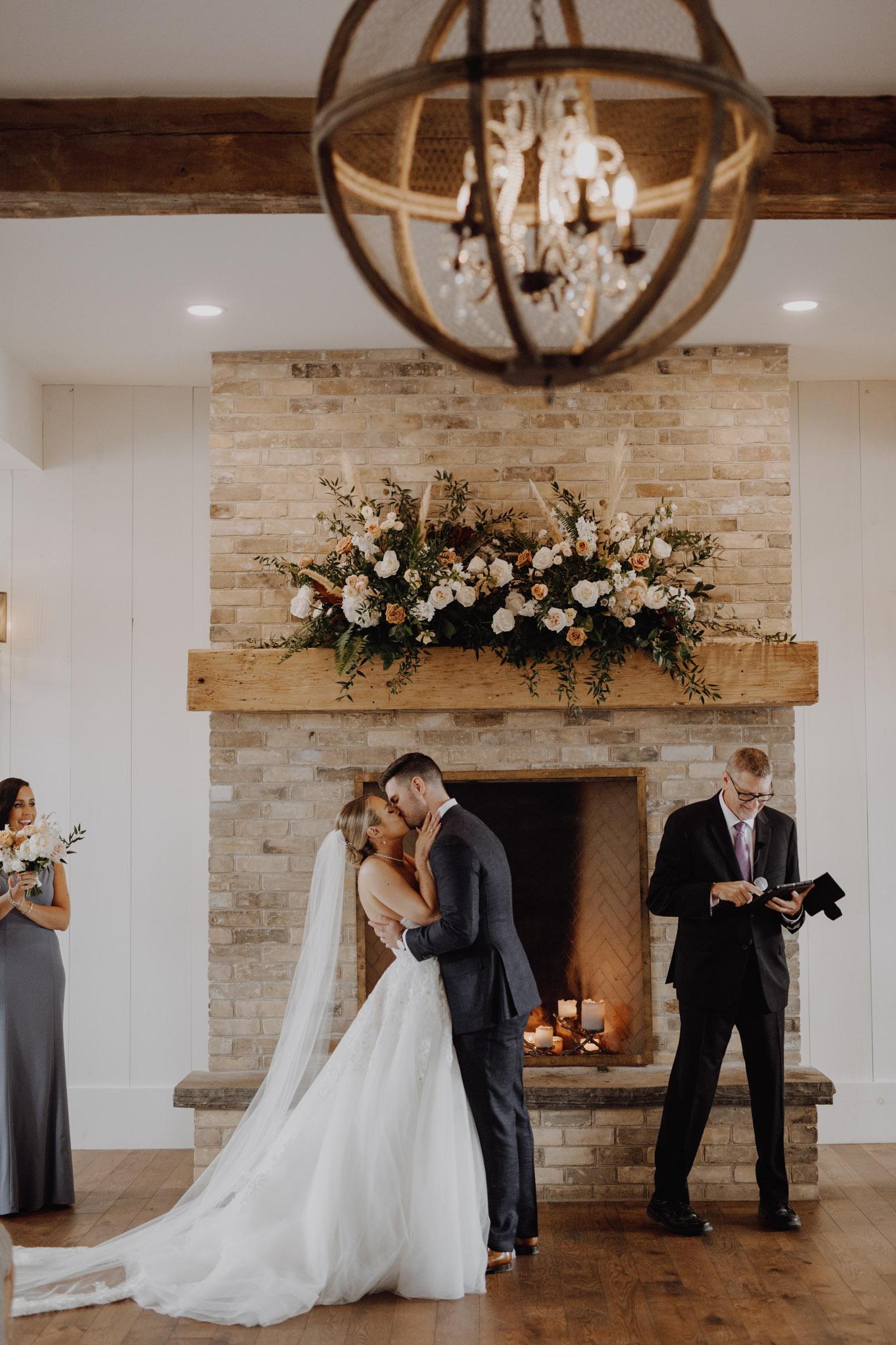 Elora Mill Wedding - the kiss