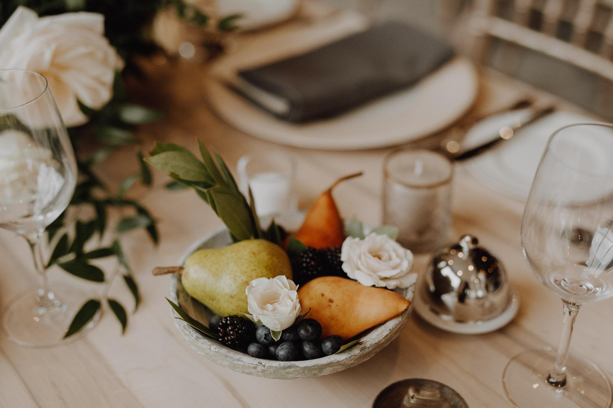 Elora Mill Wedding - fruit bowl center piece