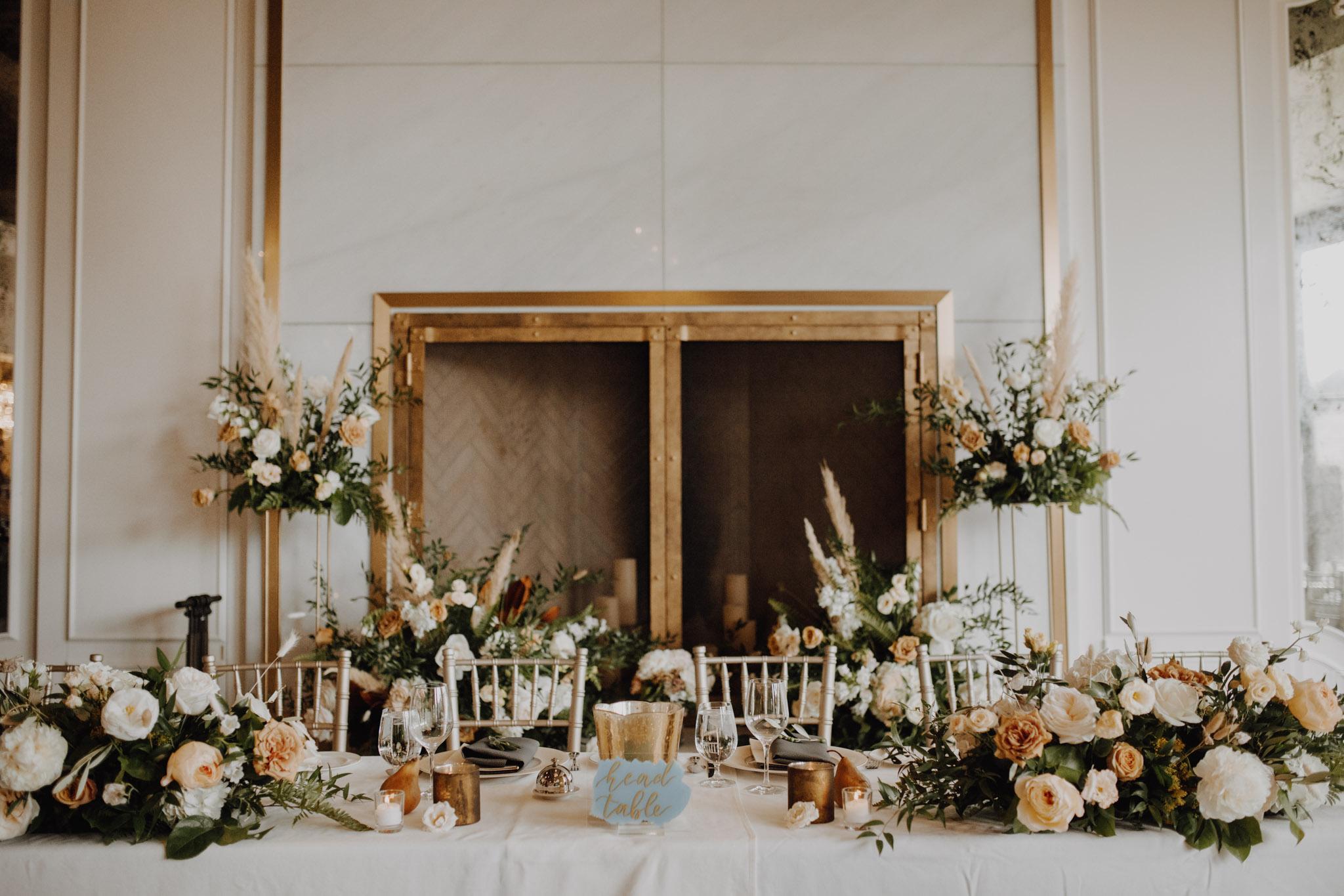 Elora Mill Wedding - peach and gold decor