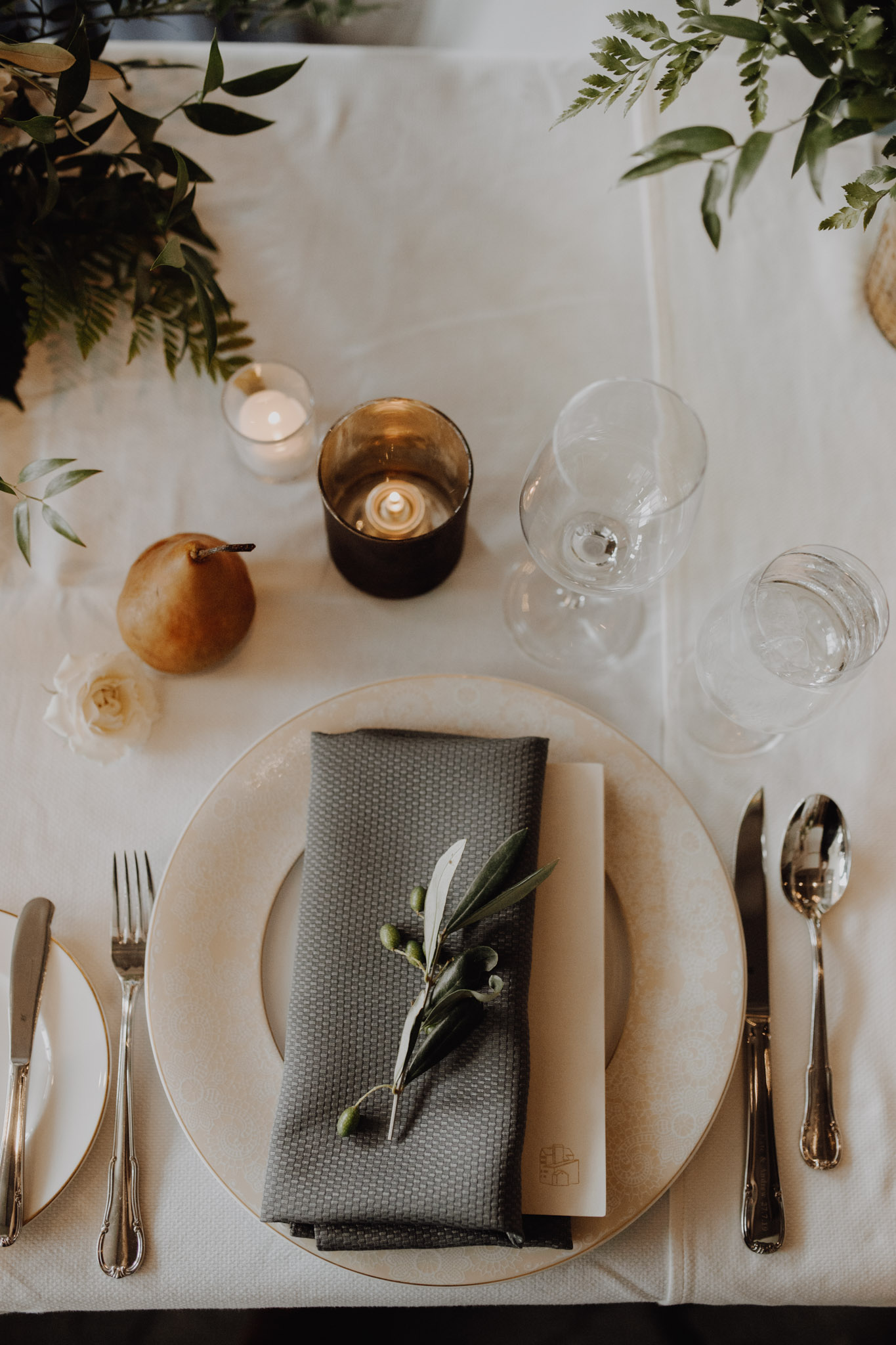 Elora Mill Wedding - pear table details