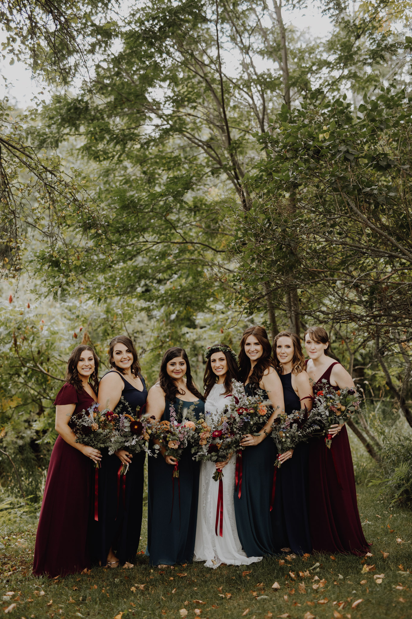 Outdoor Camp Wedding - bridal party portraits in the forest