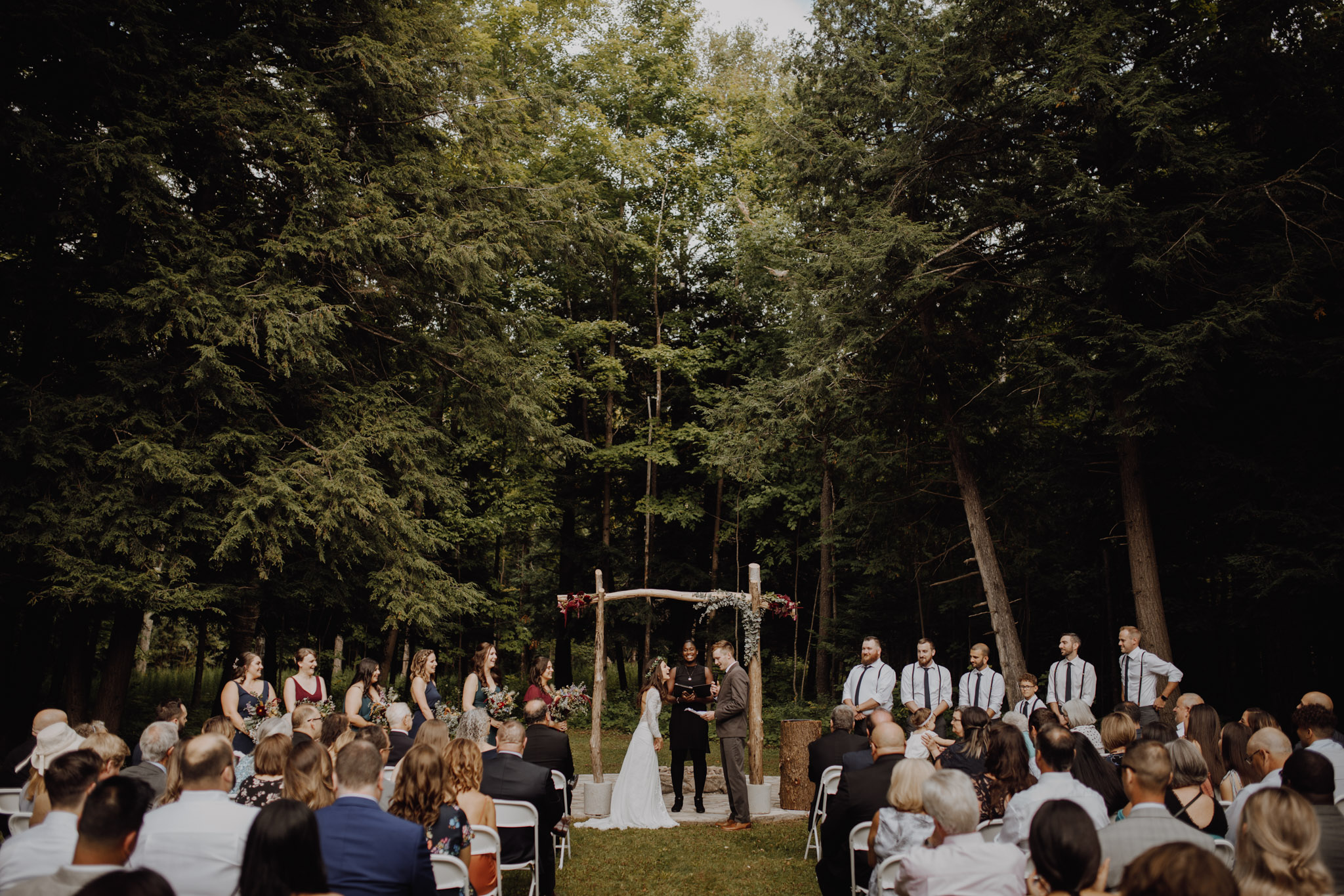 Outdoor Camp Wedding - forest ceremony