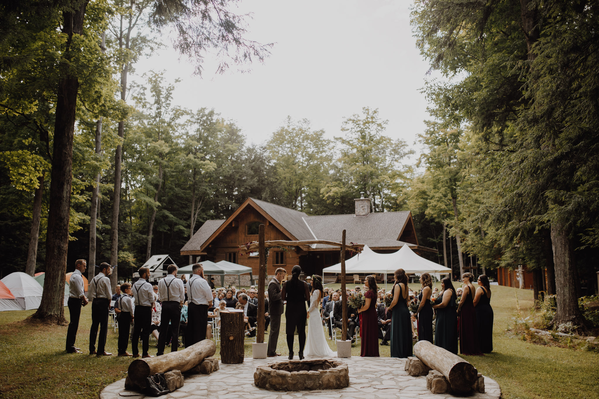 Outdoor Camp Wedding - ceremony in the clearing