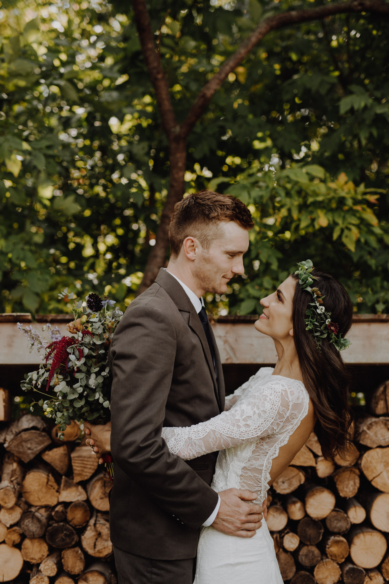Outdoor Camp Wedding - bride and groom in nature