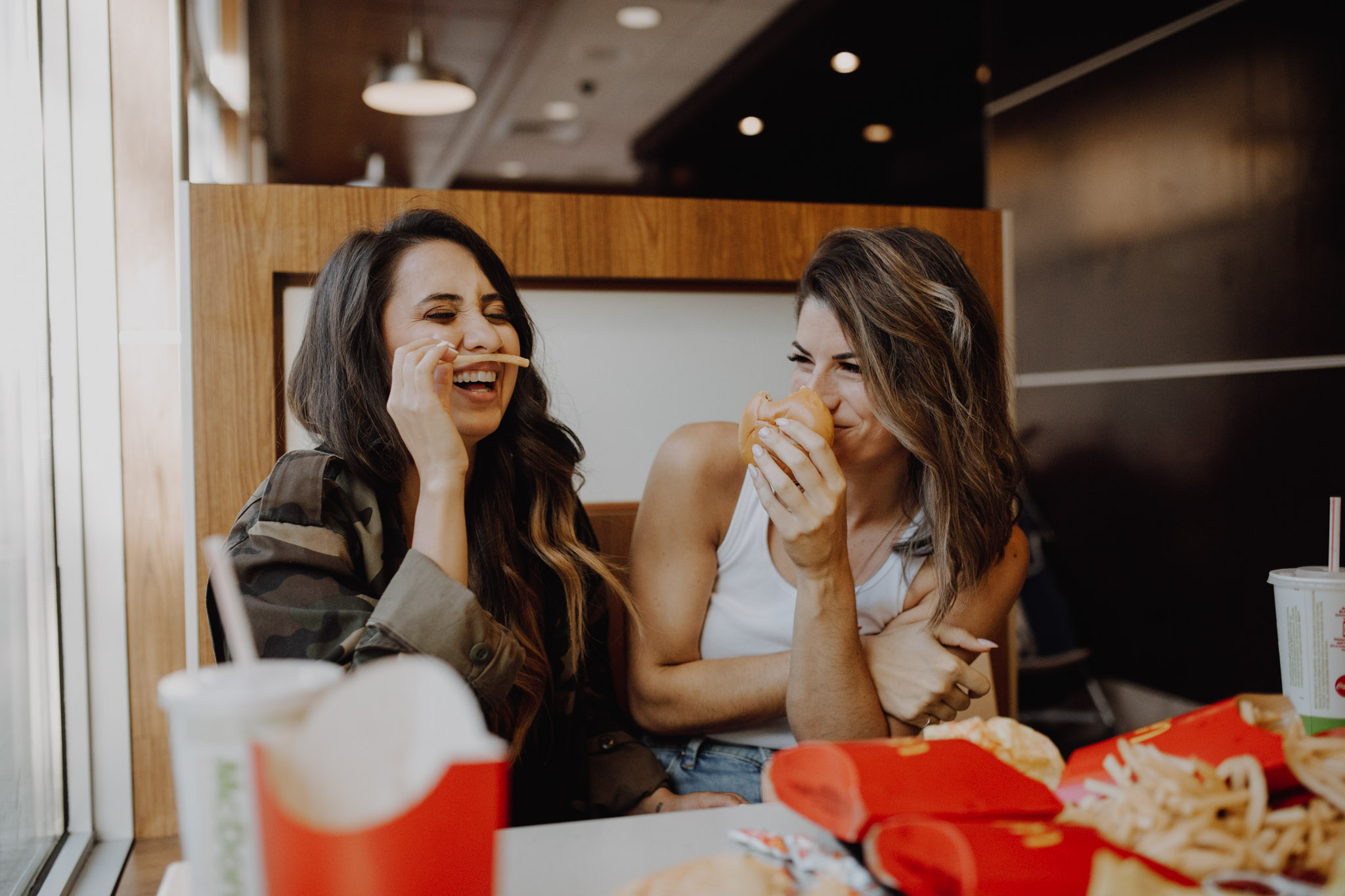 Mcdonalds engagement session - playing with fries