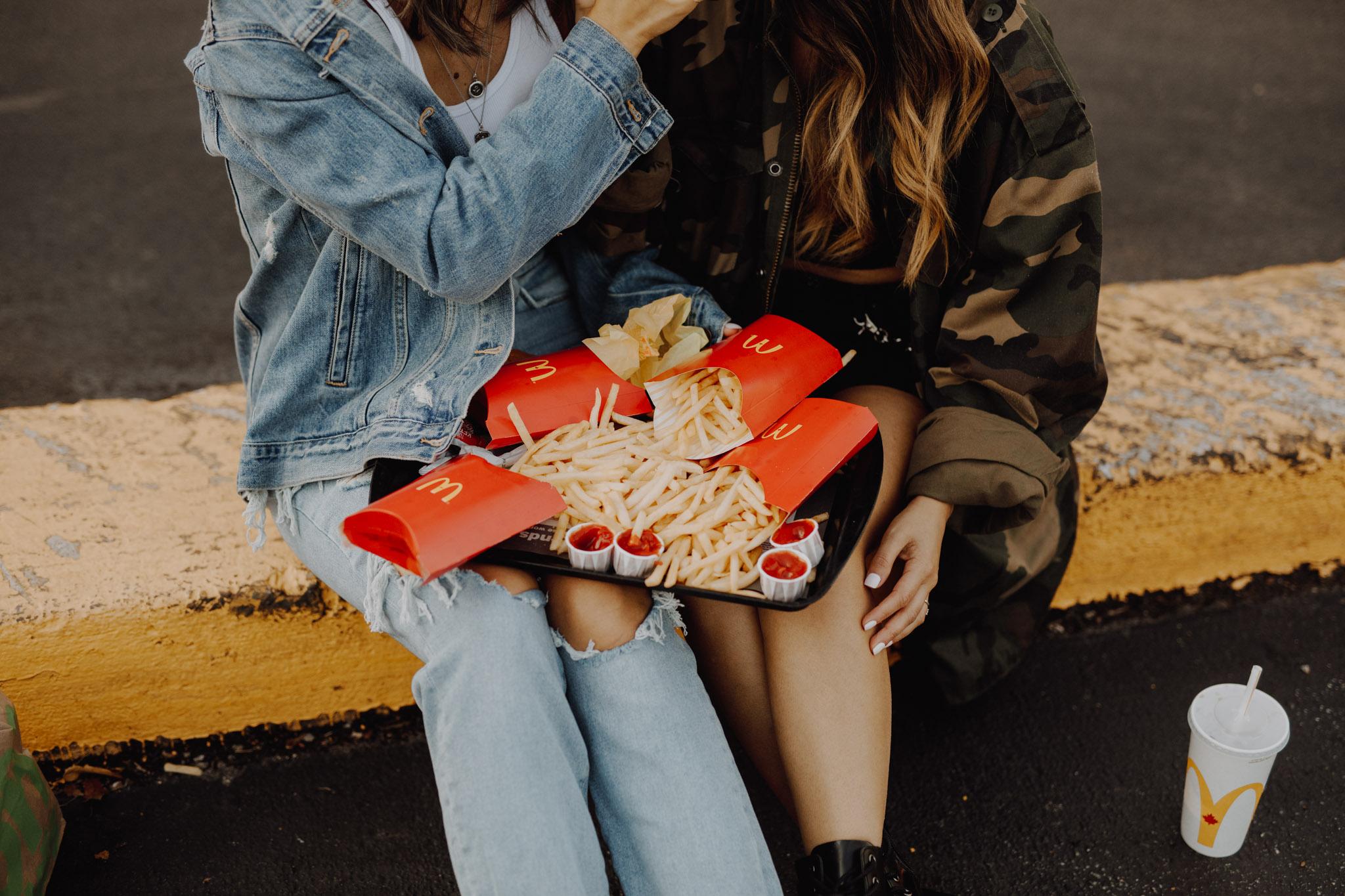 Mcdonalds engagement session - lap full of fries