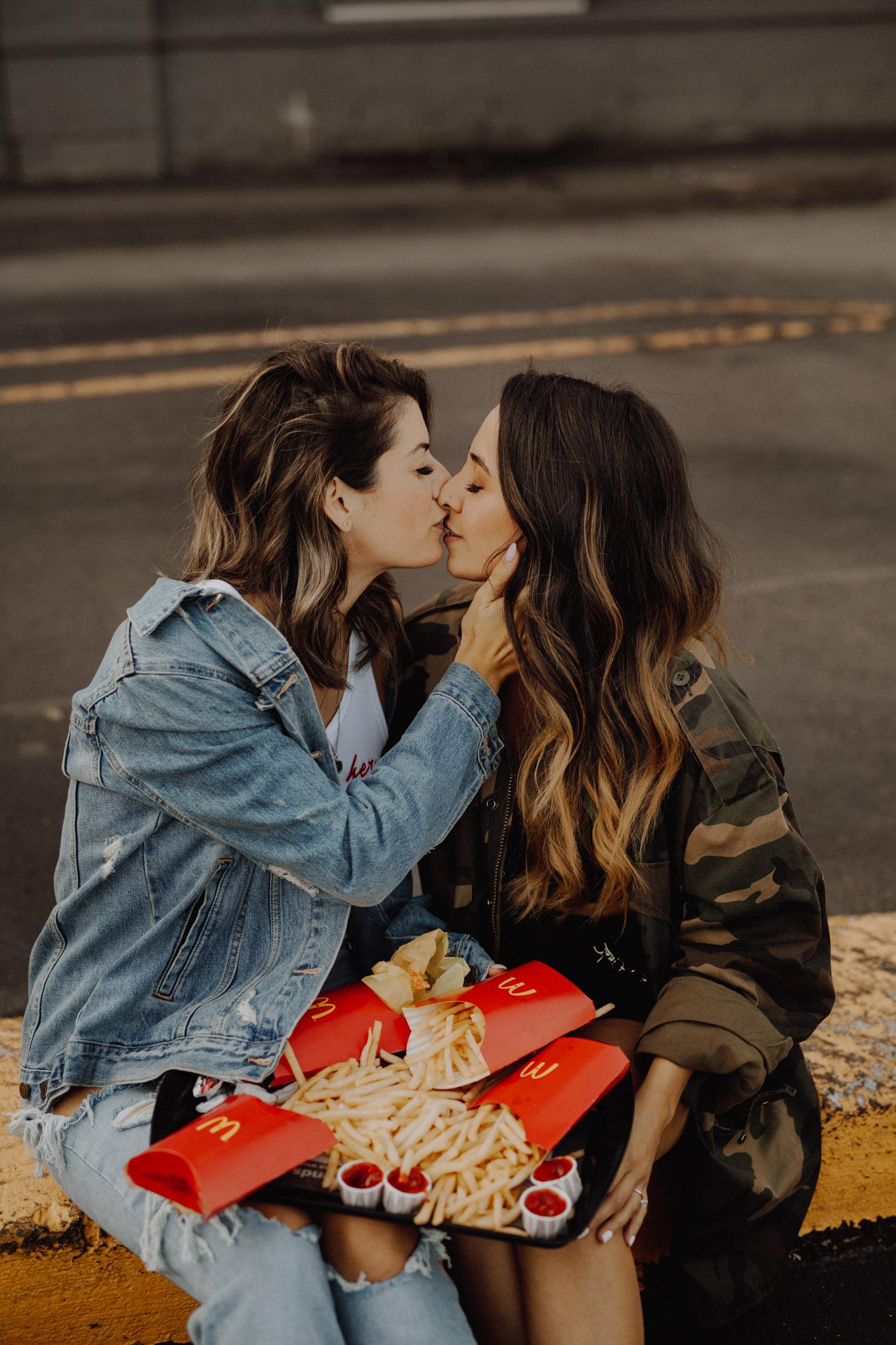 Mcdonalds engagement session - kissing