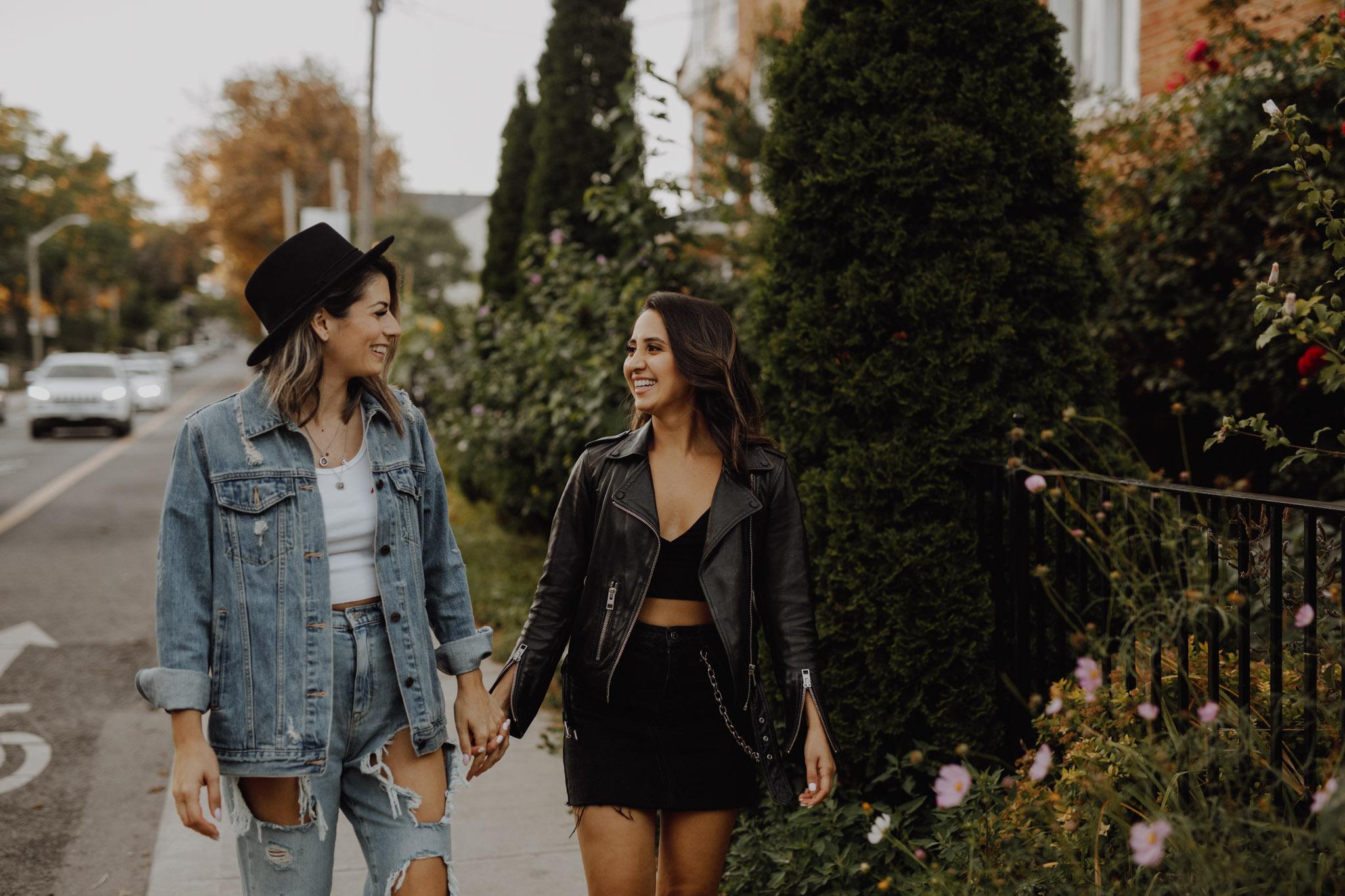 Mcdonalds engagement session - women holding hands