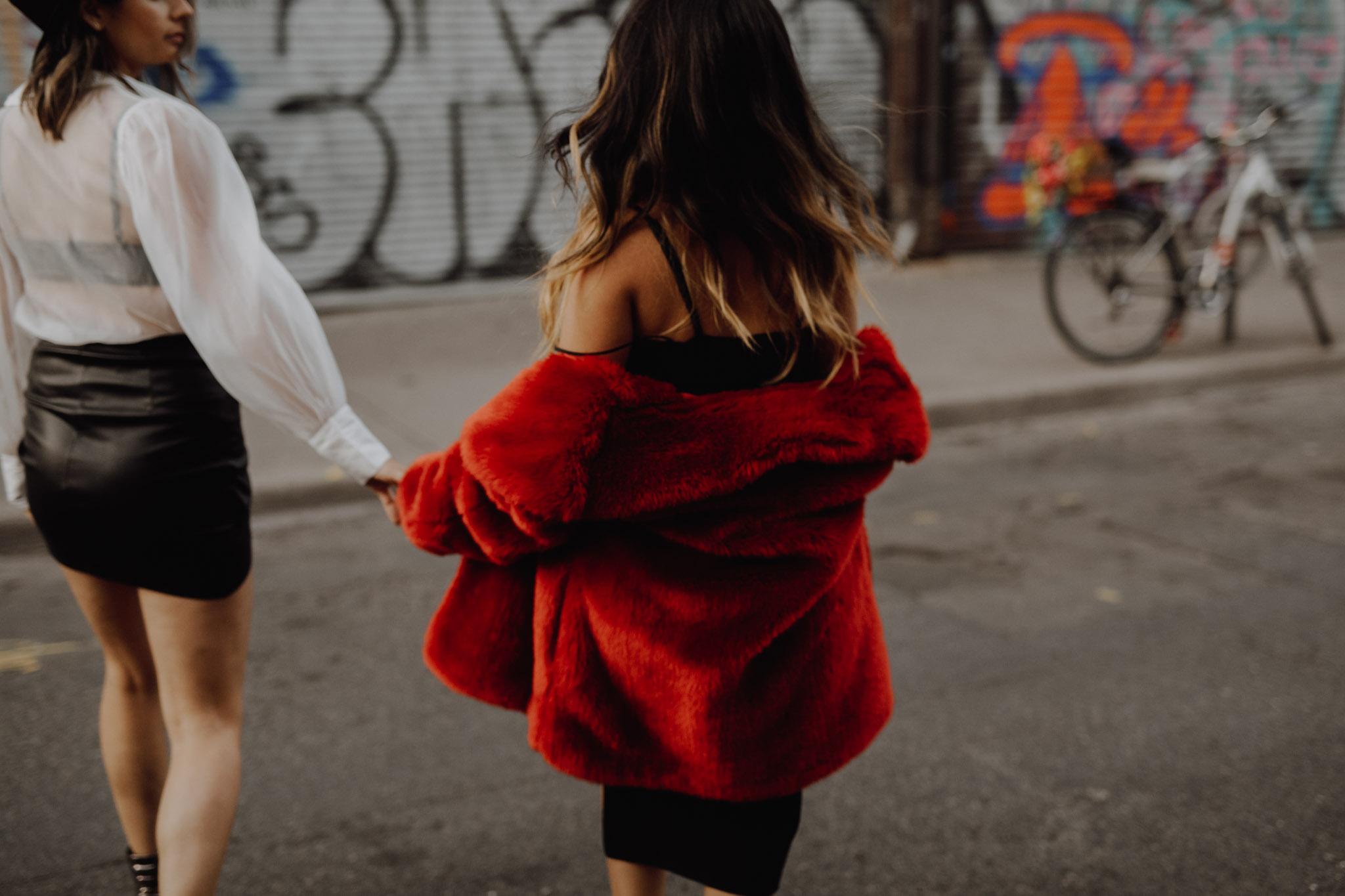 Mcdonalds engagement session - red coat