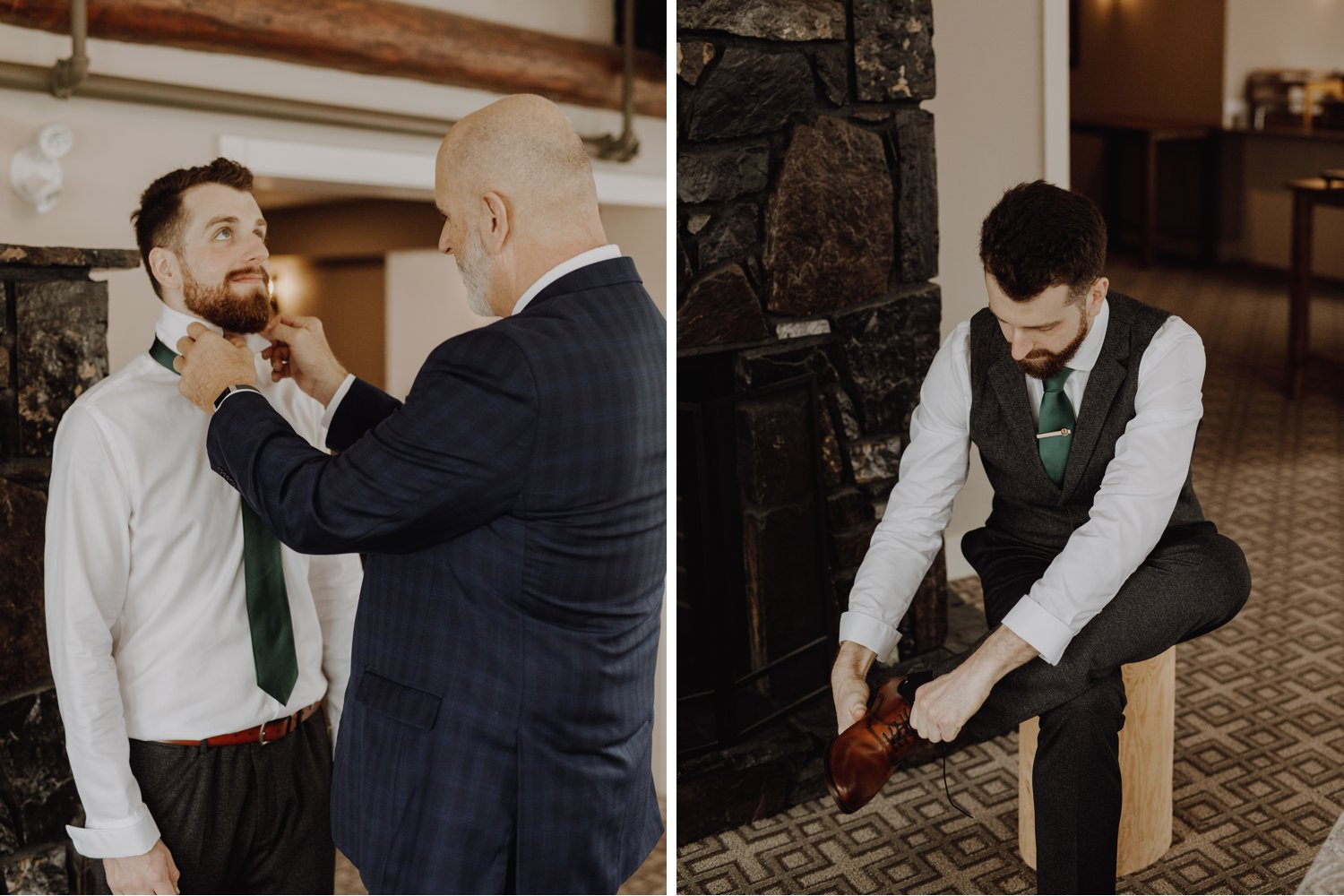 Banff Wedding - groom prep with father