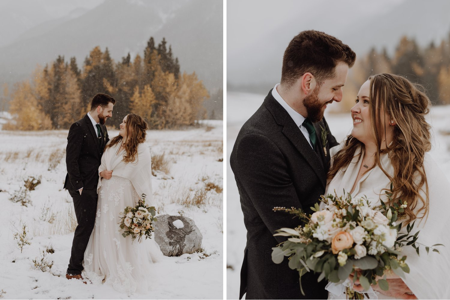 Banff Wedding - winter wedding bride and groom