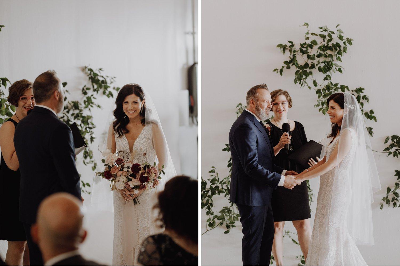 District 28 Wedding Toronto - bride & groom during ceremony