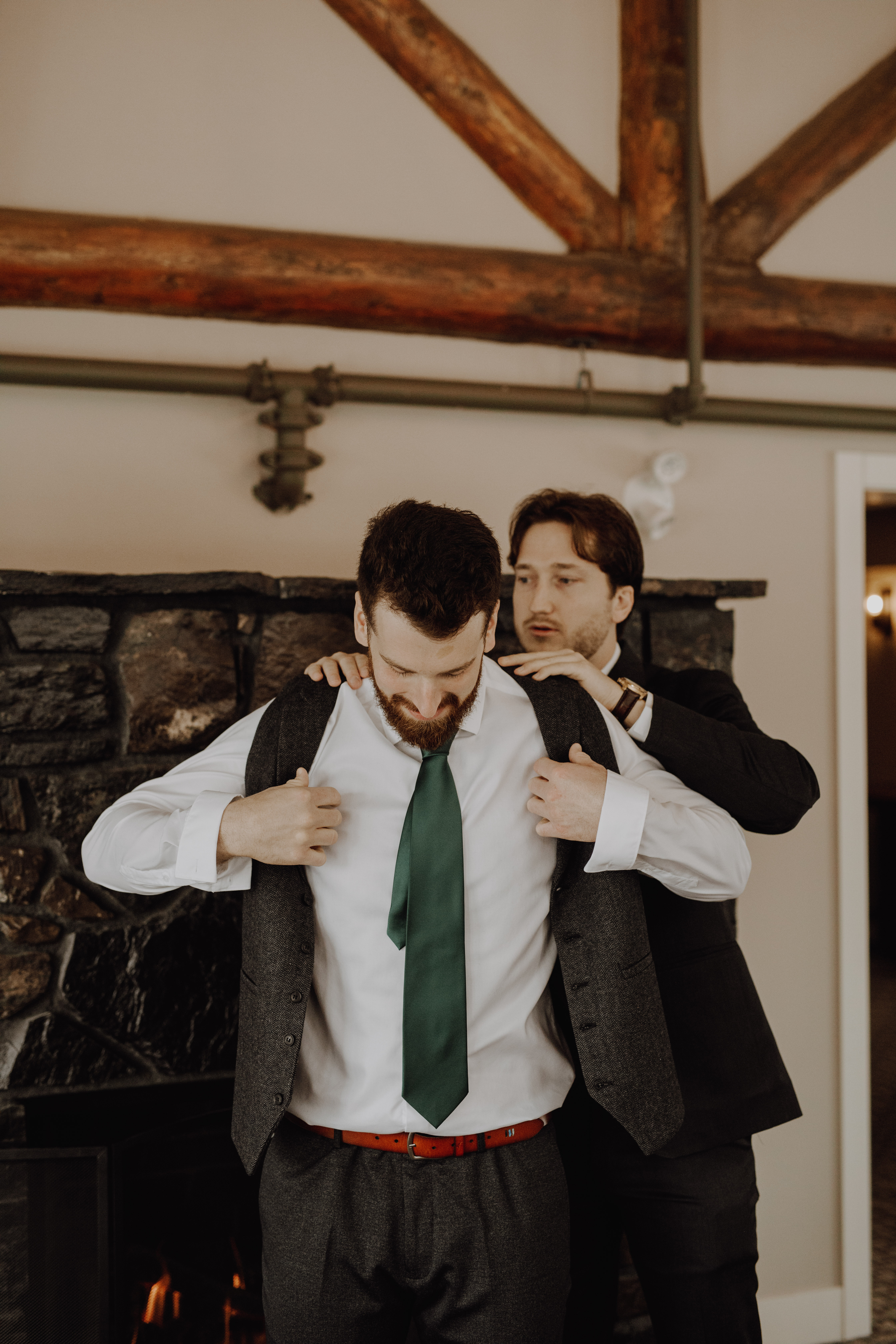 Banff Wedding - groomsmen prep