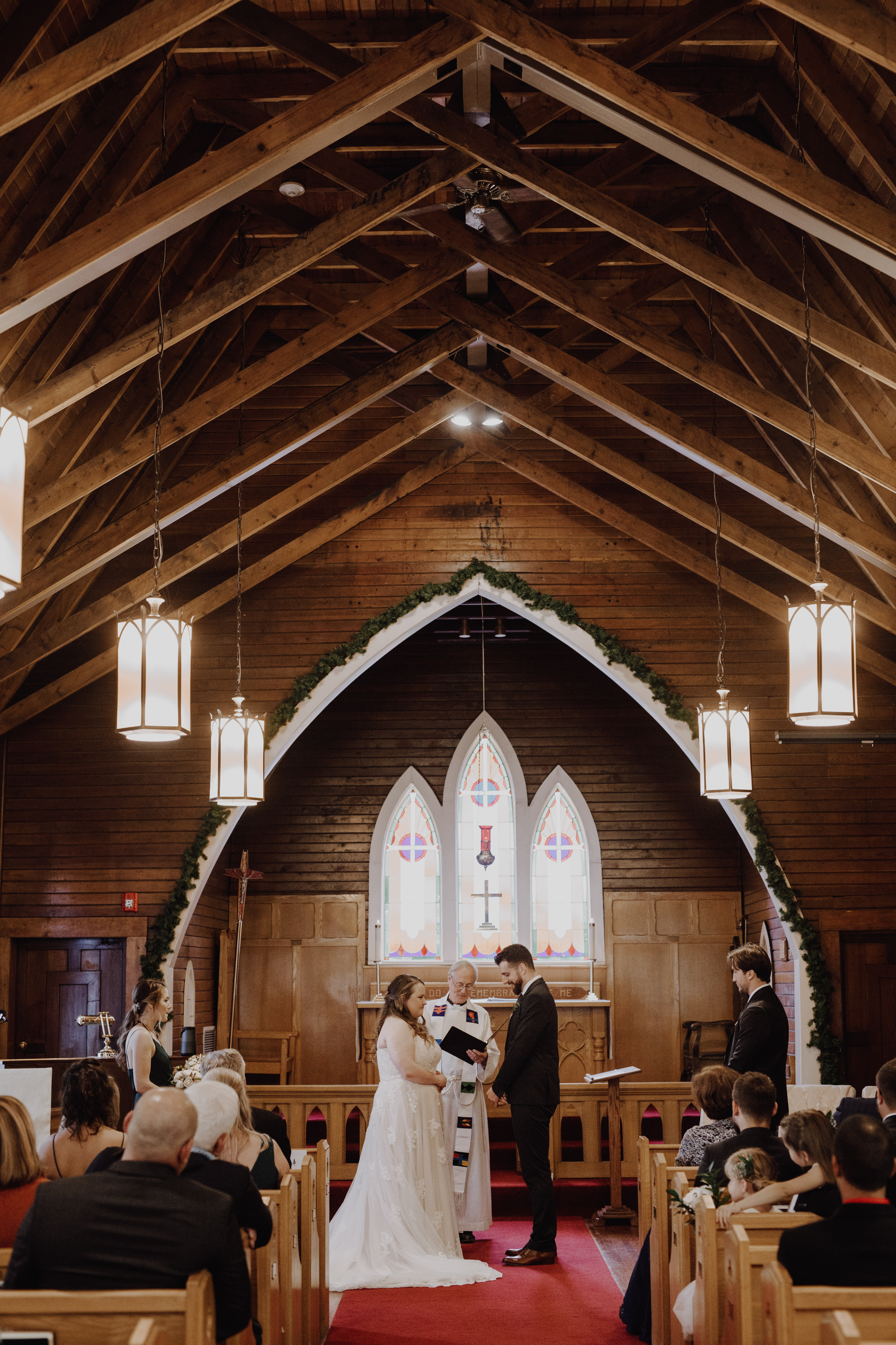 Banff Wedding - exchanging vows