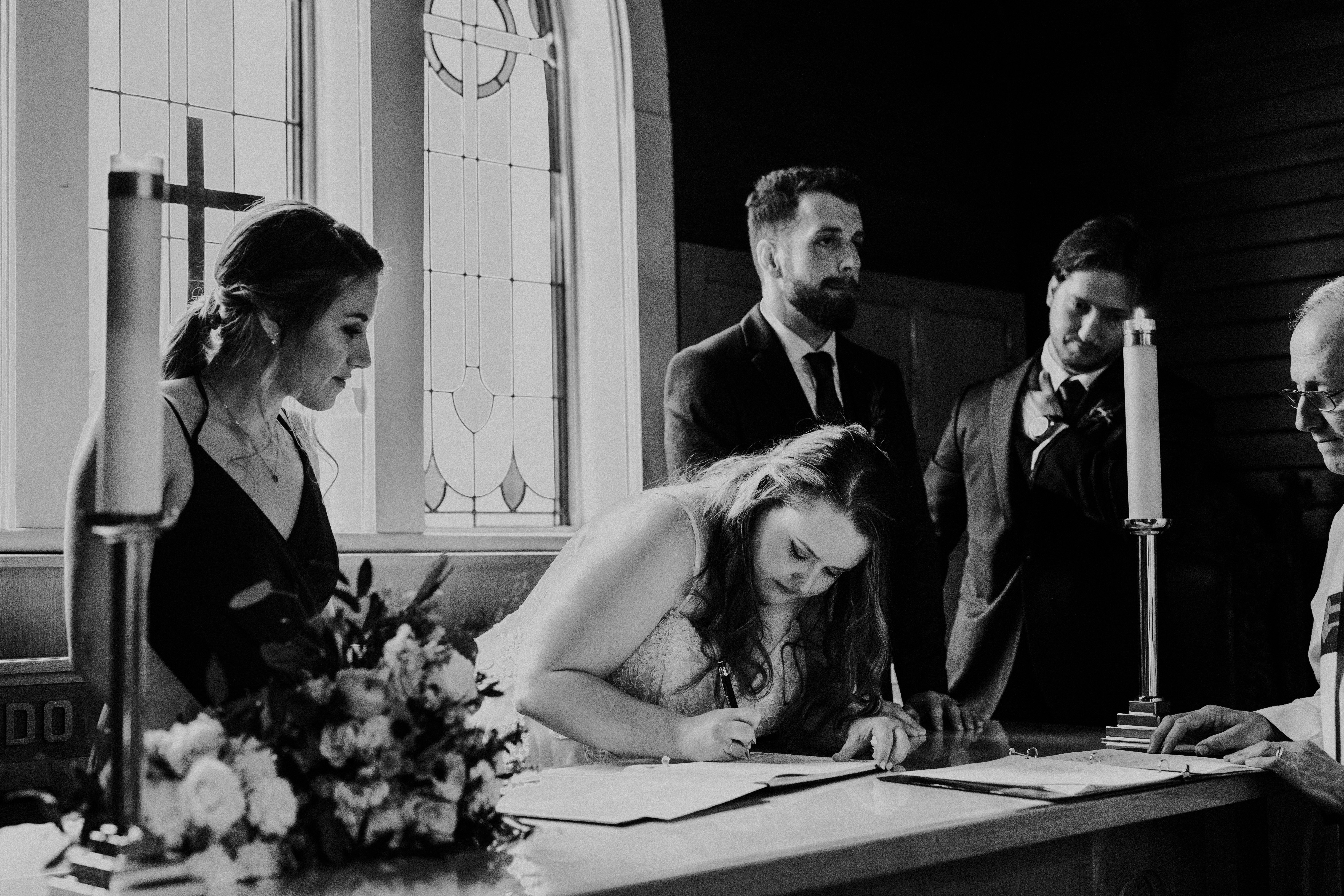 Banff Wedding - signing the marriage liscence