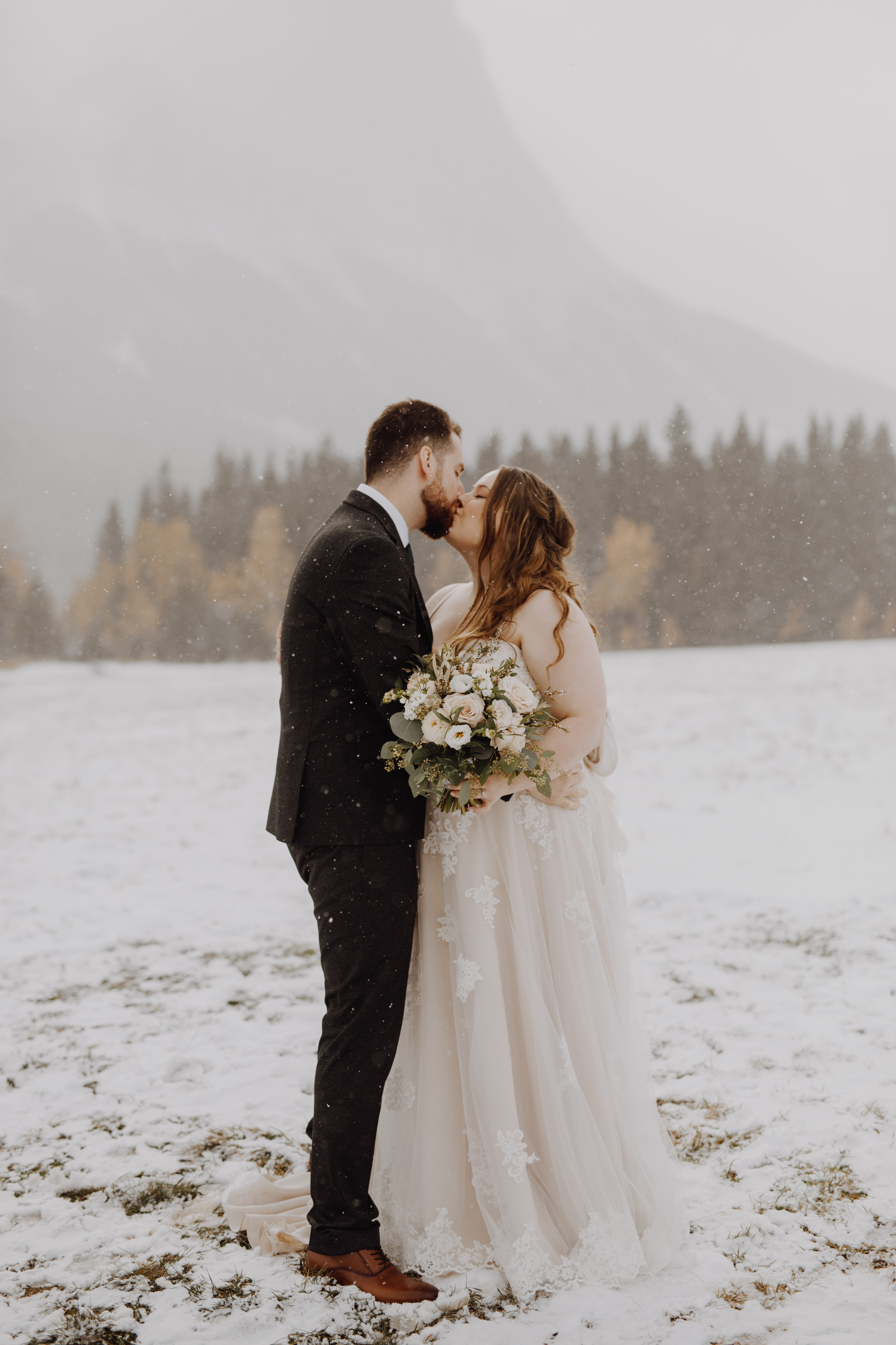 snowy banff wedding