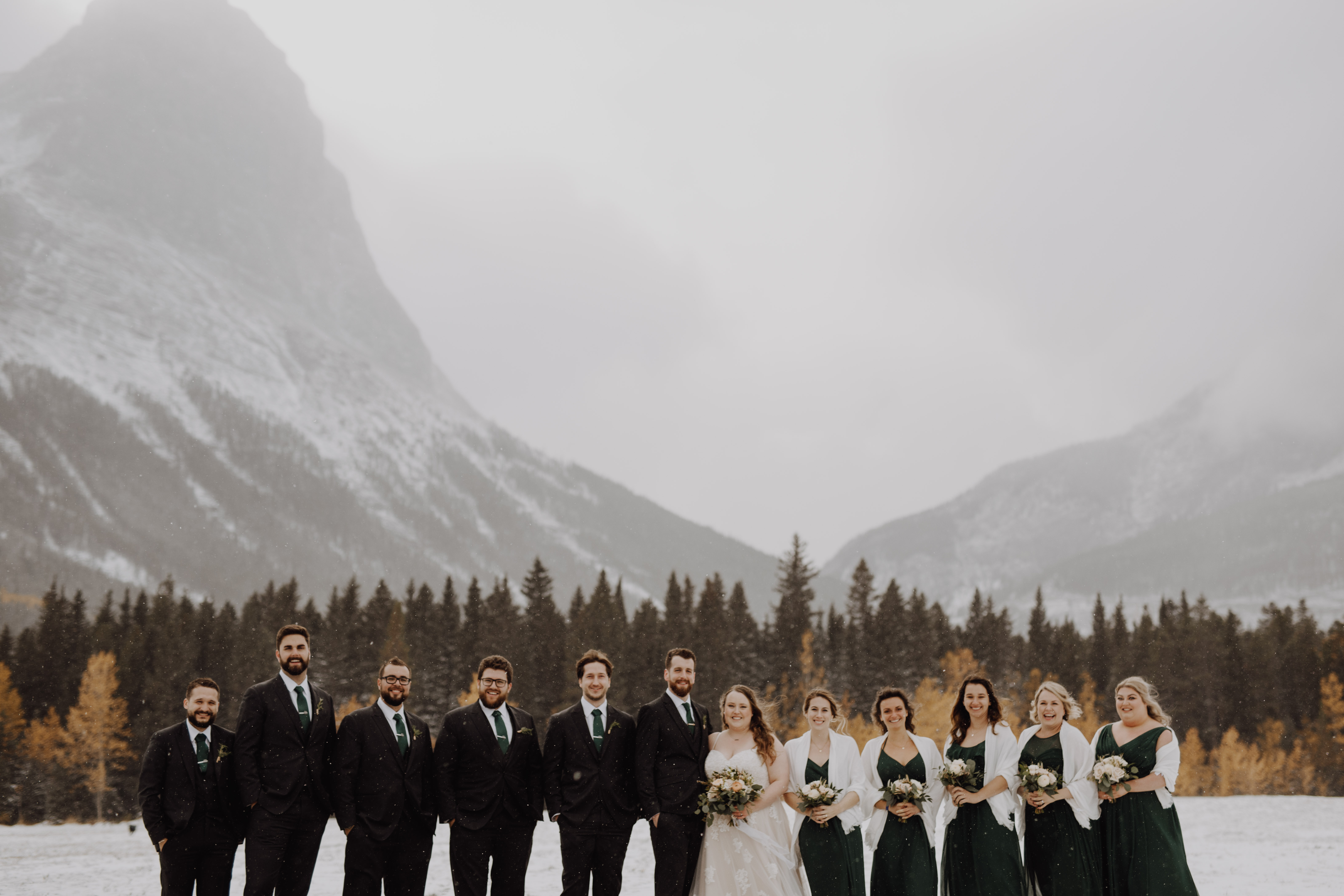 Banff Wedding - wedding party in the snow