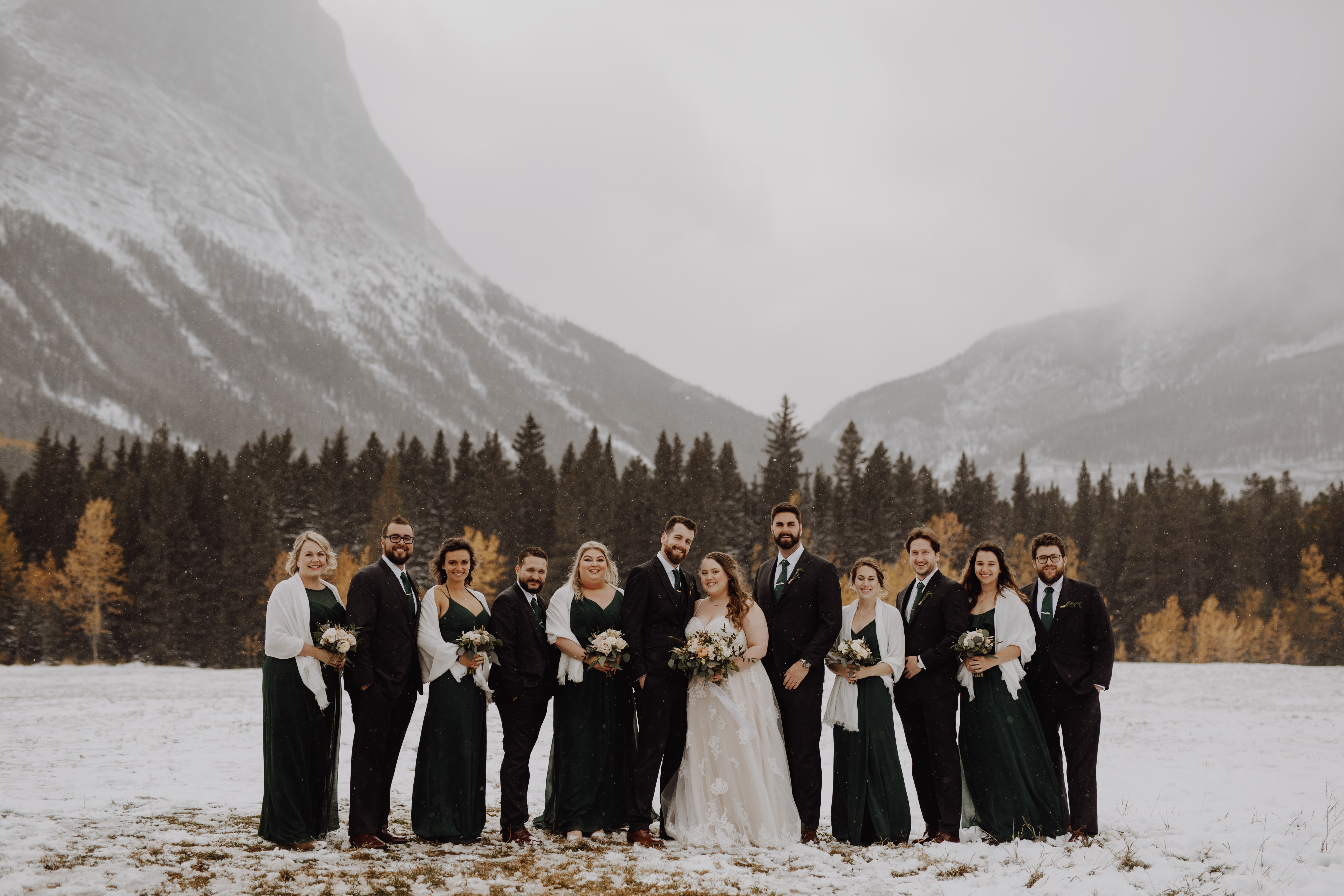 Banff Wedding - wedding party in the mountains