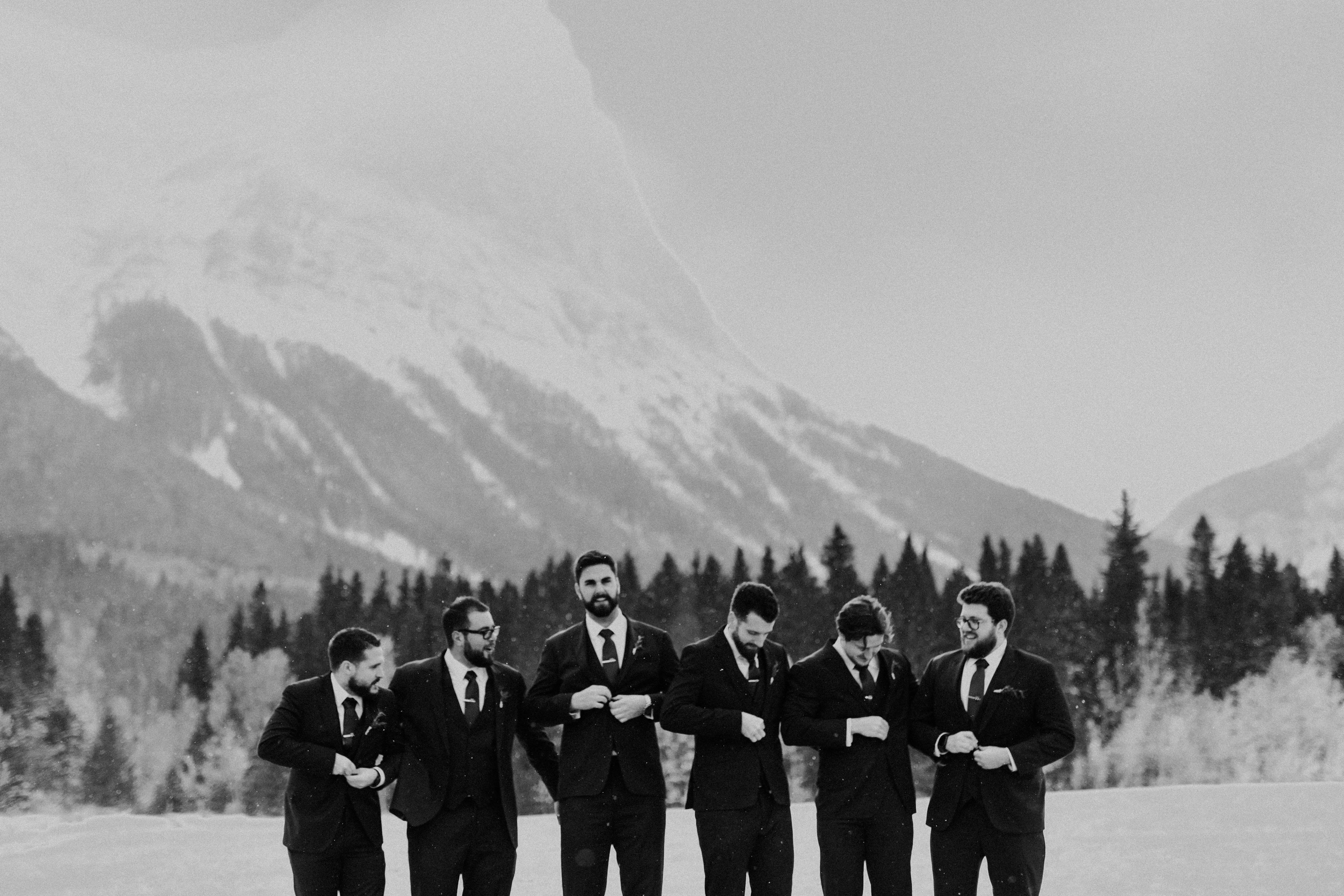 Banff Wedding - Groomsmen in the snow