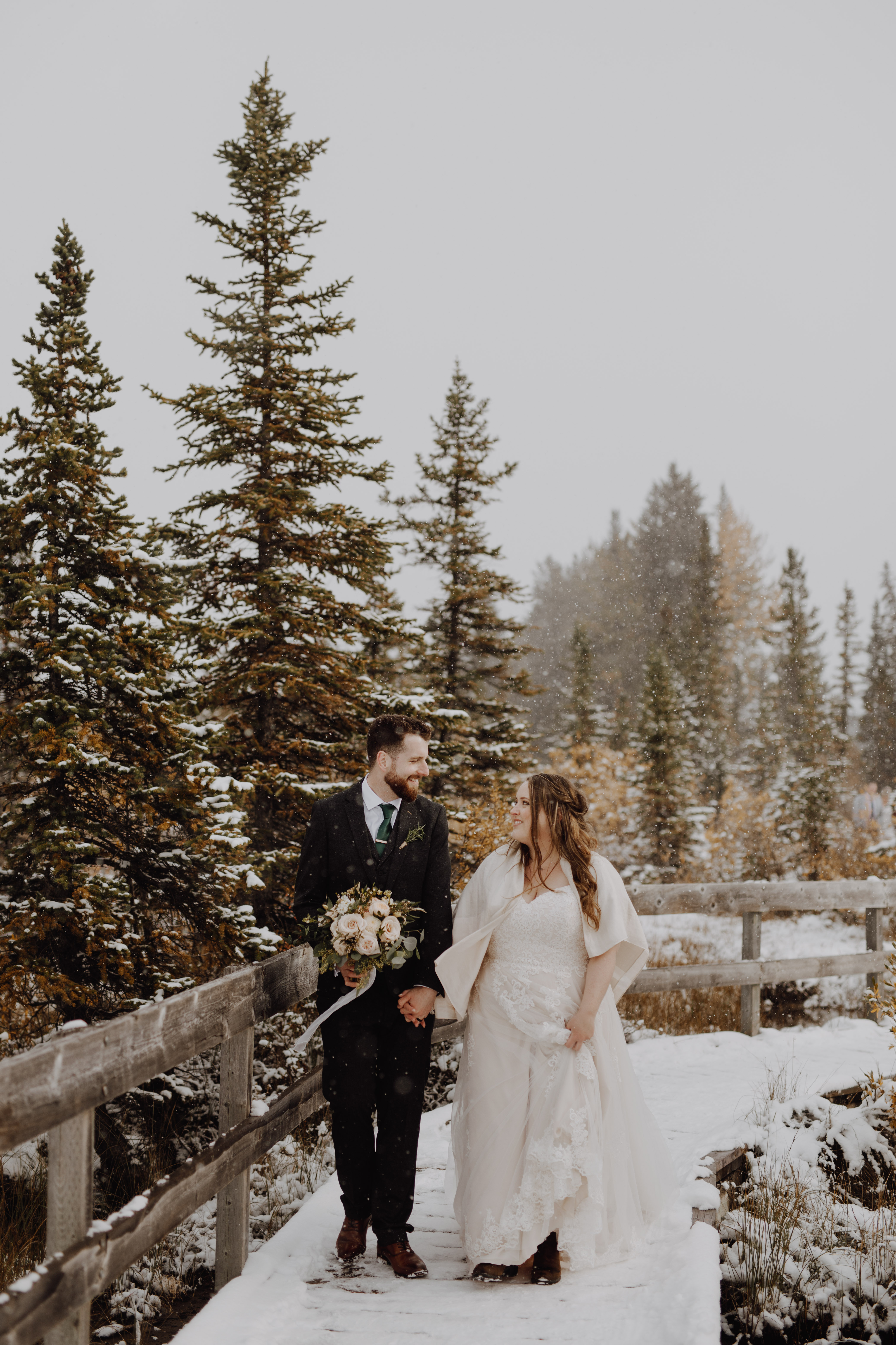 Banff Wedding - snowy mountain wedding portraits