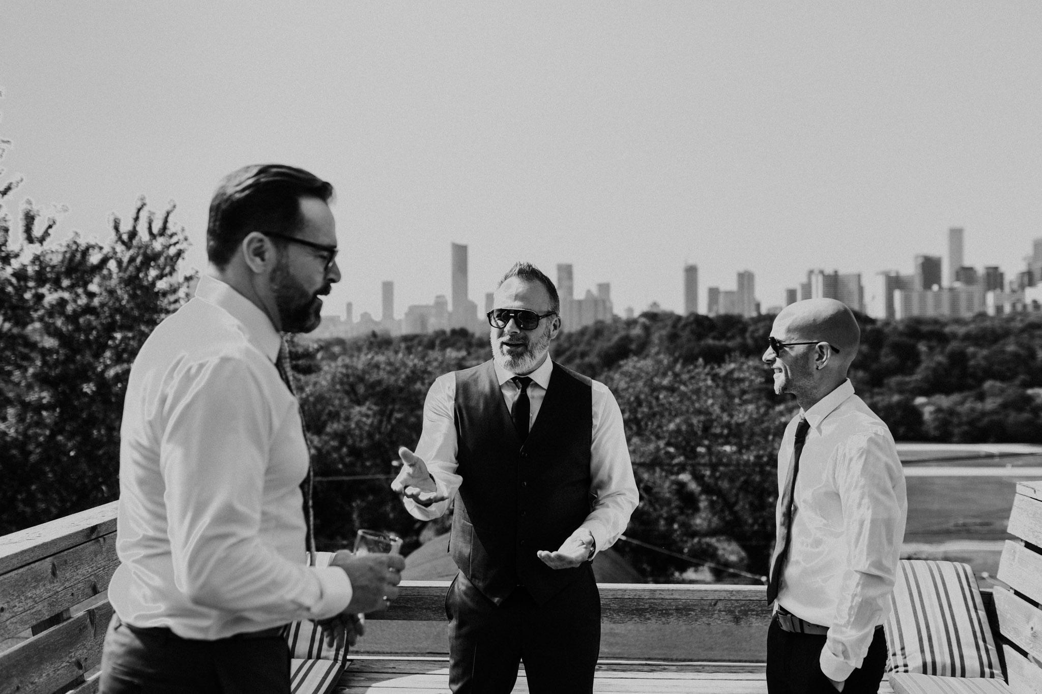 Downtown Toronto Wedding - groomsmen and skyline -Jennifer See Studios