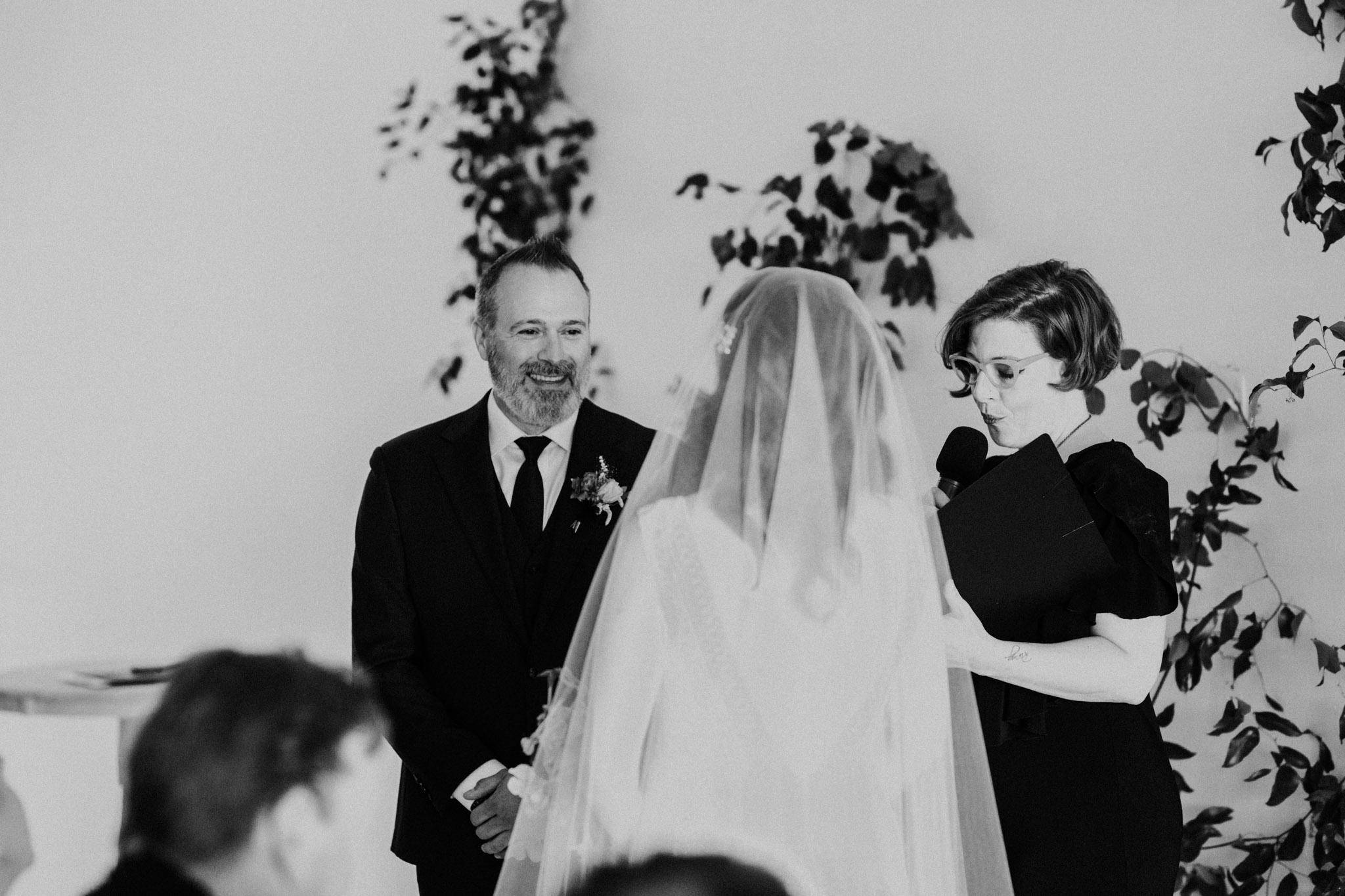 District 28 Wedding Toronto - Bride & groom black and white