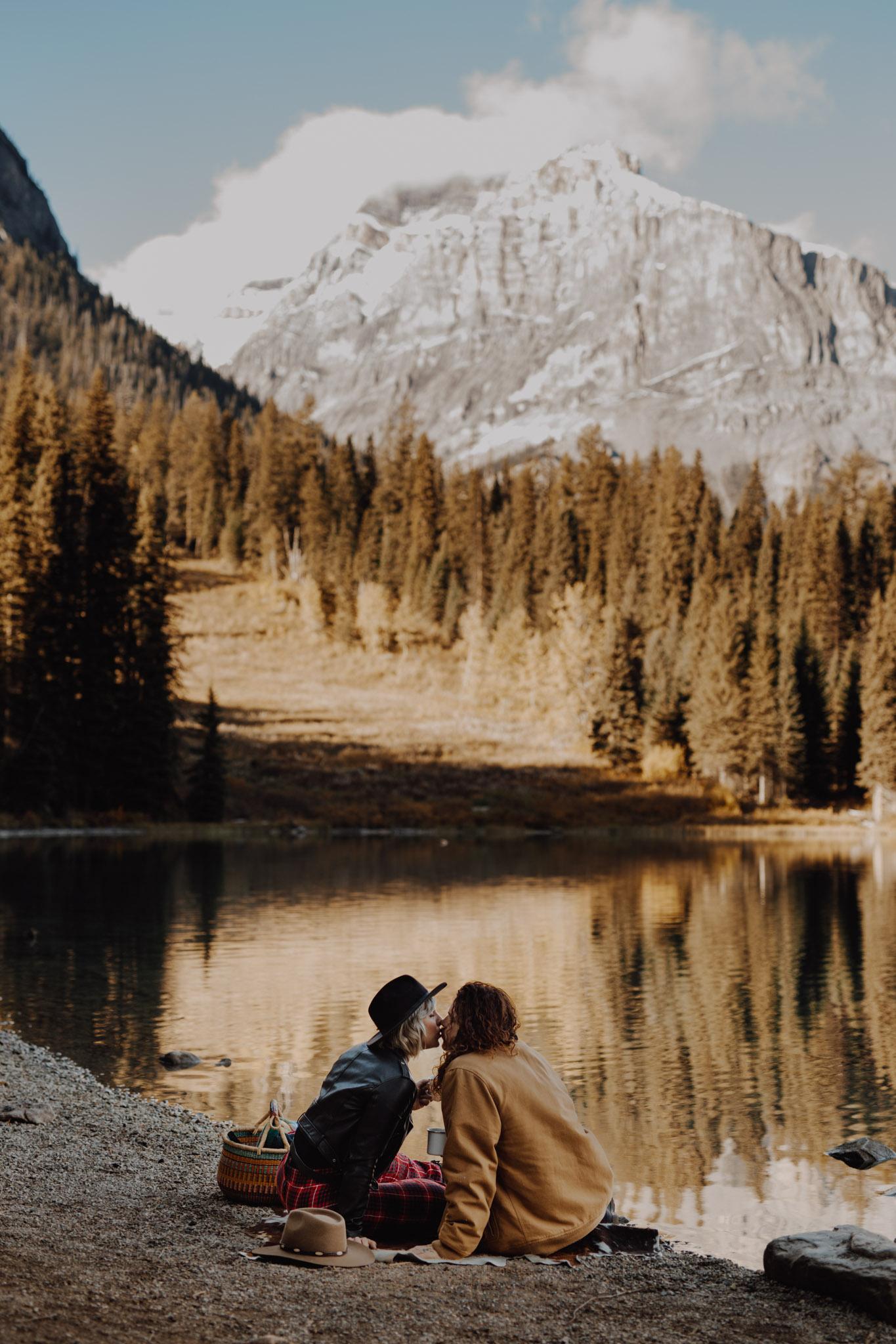 Emerald Lake - kissing by the lake