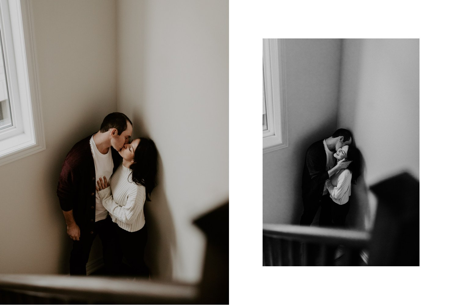 In Home Engagement Session - kissing on the stairs