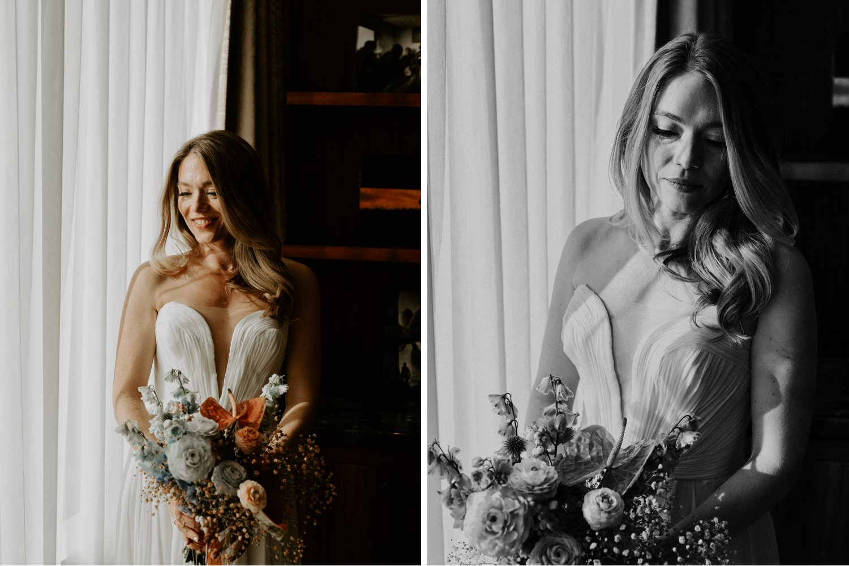 Casa La Palma Wedding - portrait of the bride with pastel bouquet