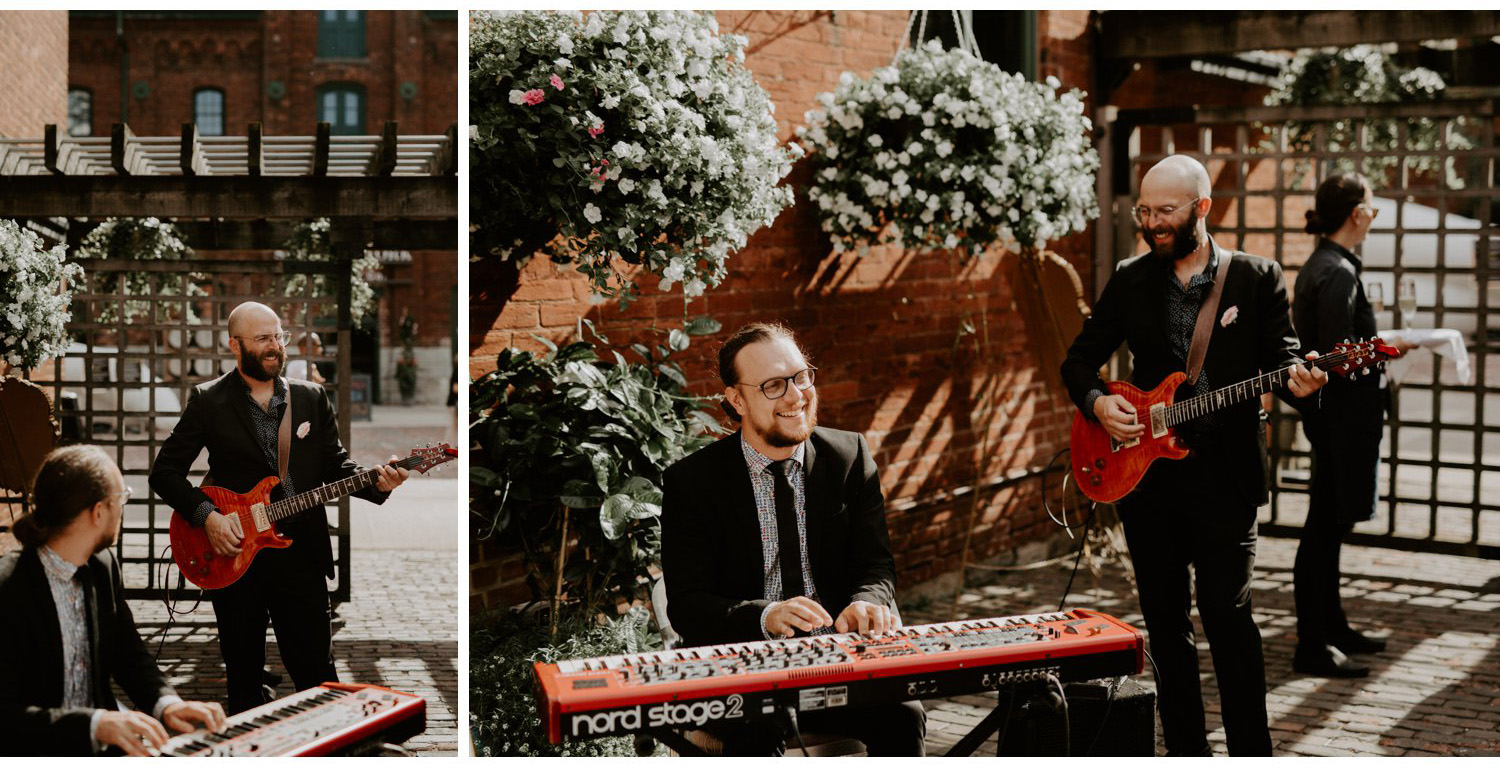 Archeo Wedding - Band against brick wall and floral arrangements - Distillery District Toronto