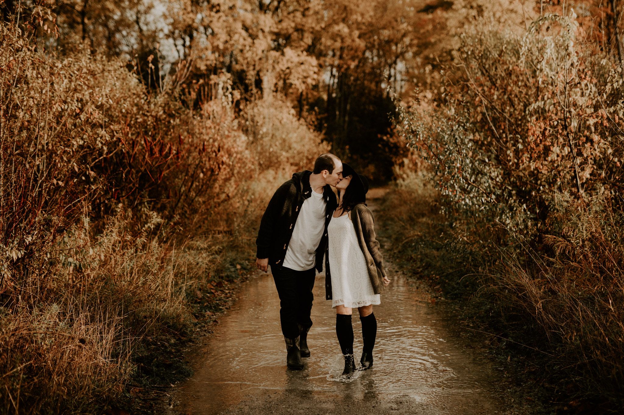 Fall Engagement Session in Toronto - rubber boots and puddles included