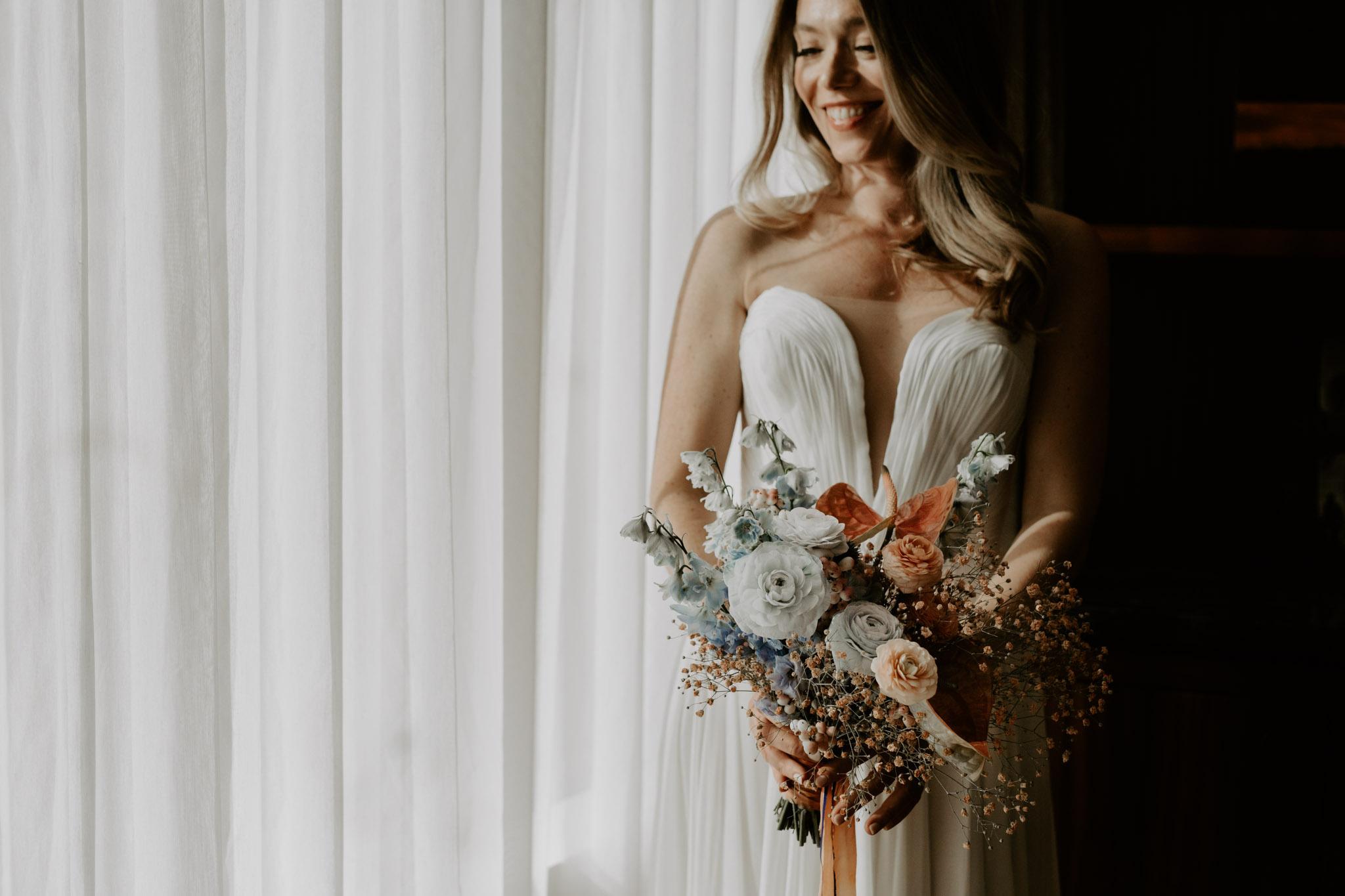 Casa La Palma Wedding - bridal portrait with bouquet