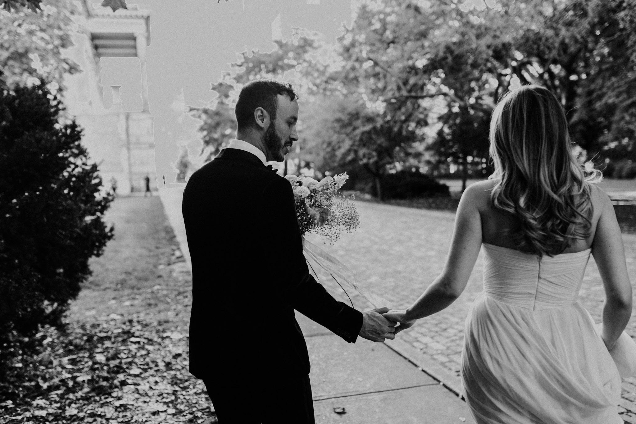Casa La Palma Wedding - Bride and groom holding hands - documentary wedding photography