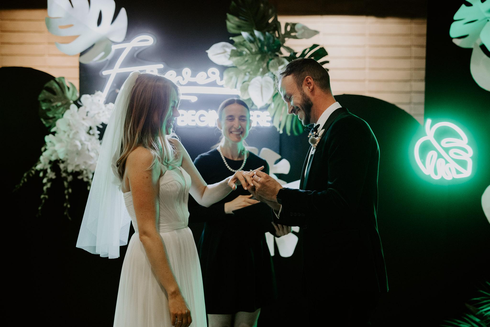 Casa La Palma Wedding - exchanging rings - Pop Up Chapel - Love By Lynzie Wedding