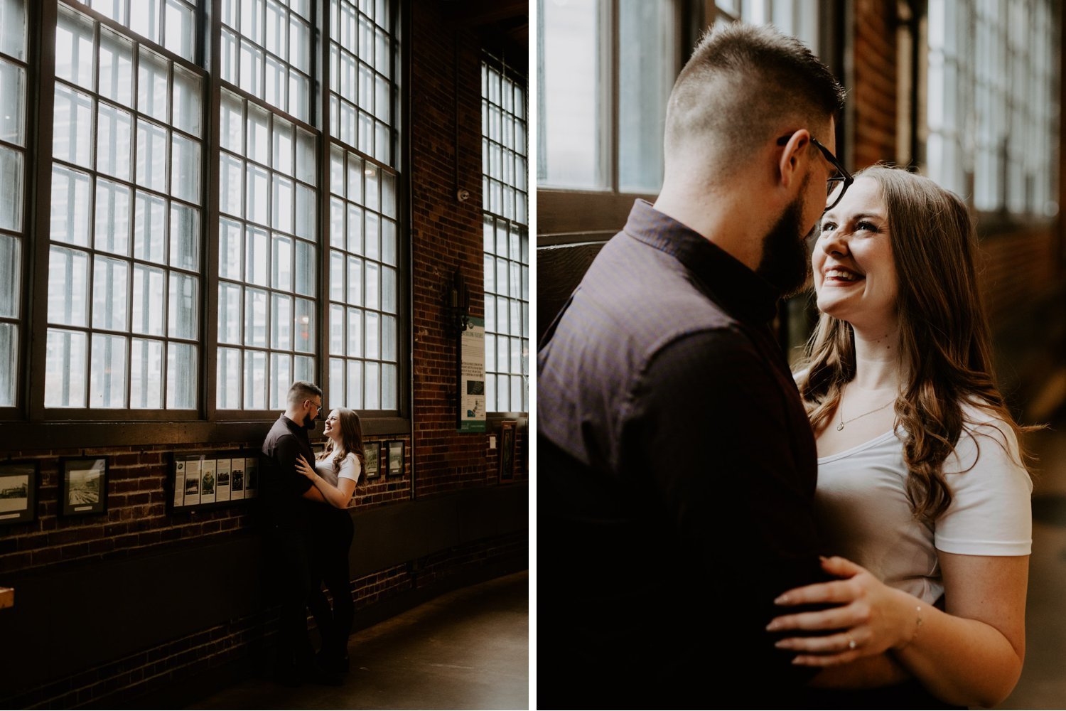 SteamWhistle Brewery Engagement - couple posing near industrial window